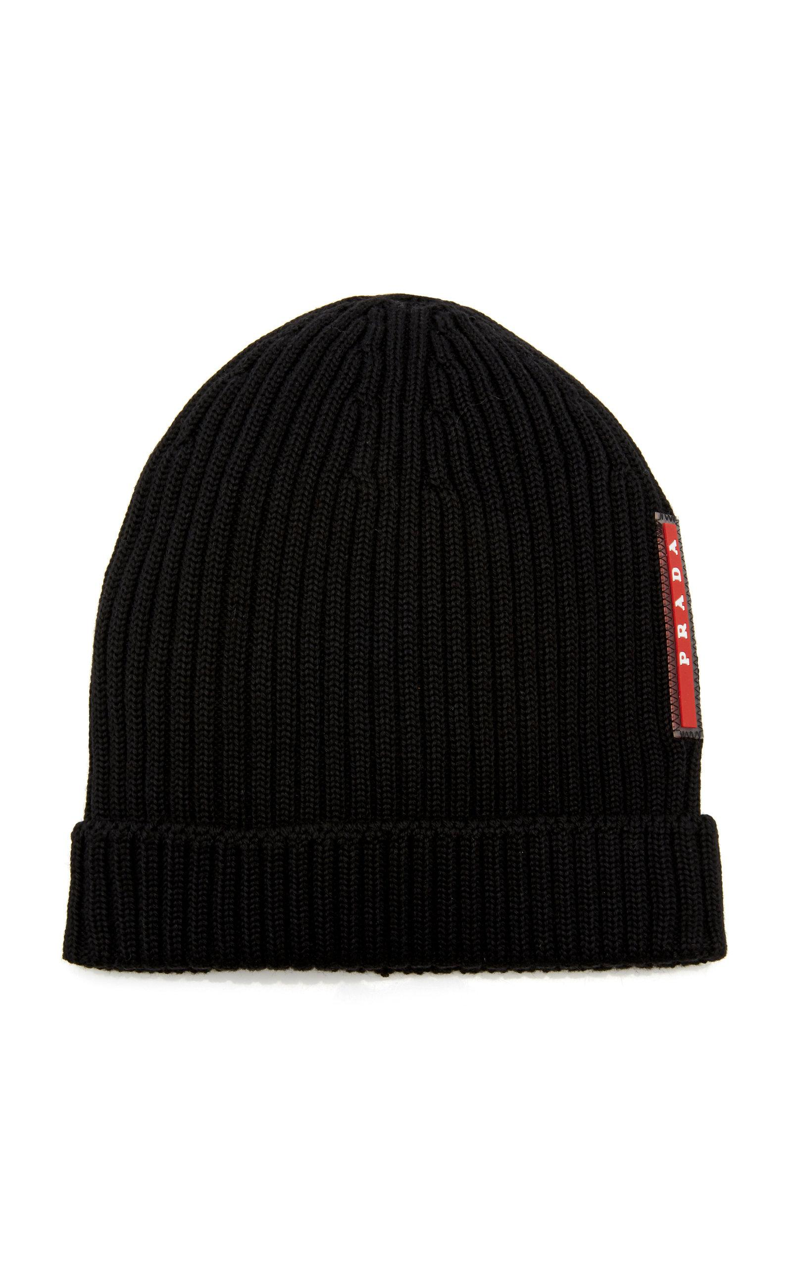10f1d92fbf5 Prada Logo-appliquéd Ribbed Wool Beanie in Black for Men - Save 52 ...