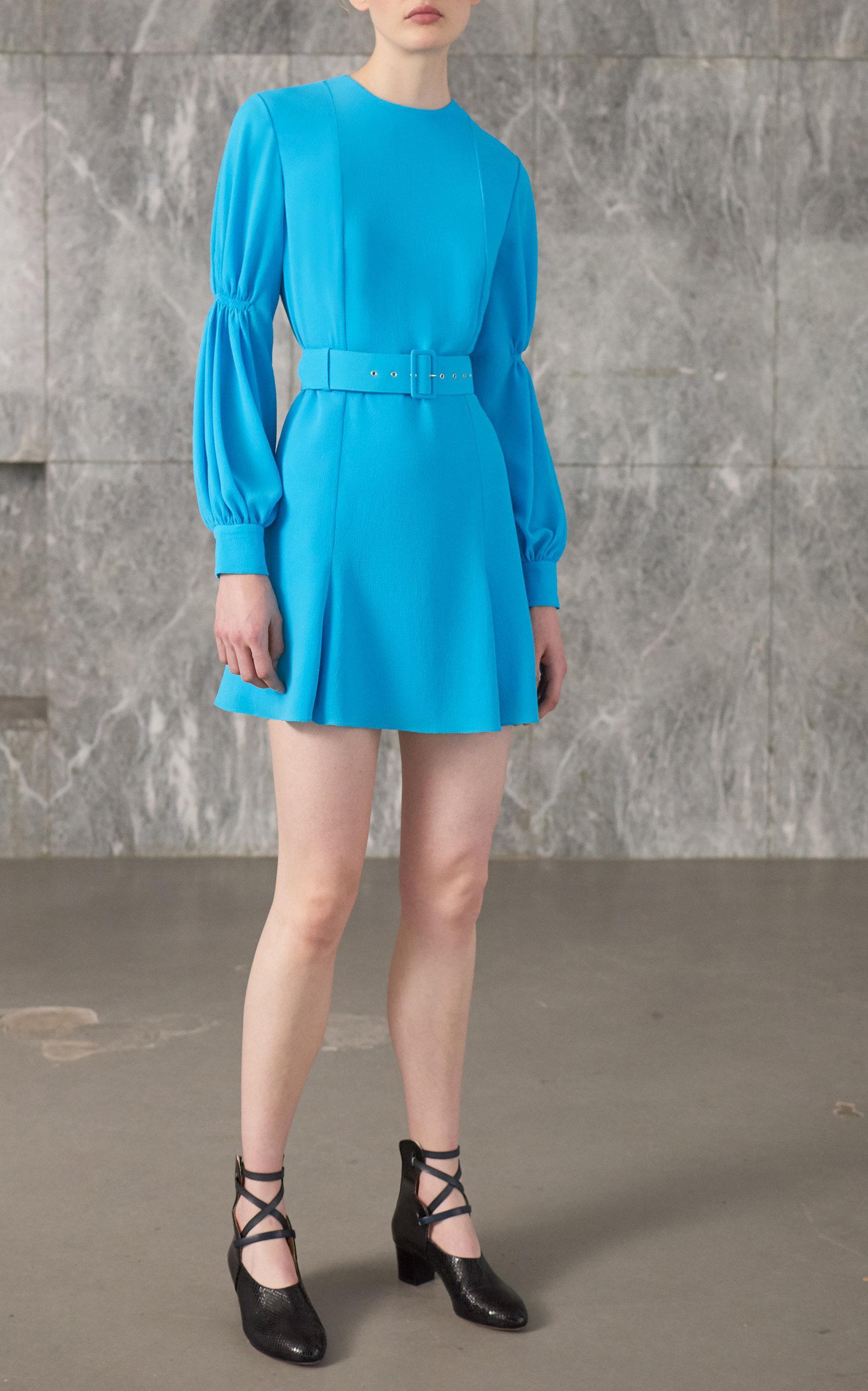 Philippa Long-Sleeve Mini Dress in blue