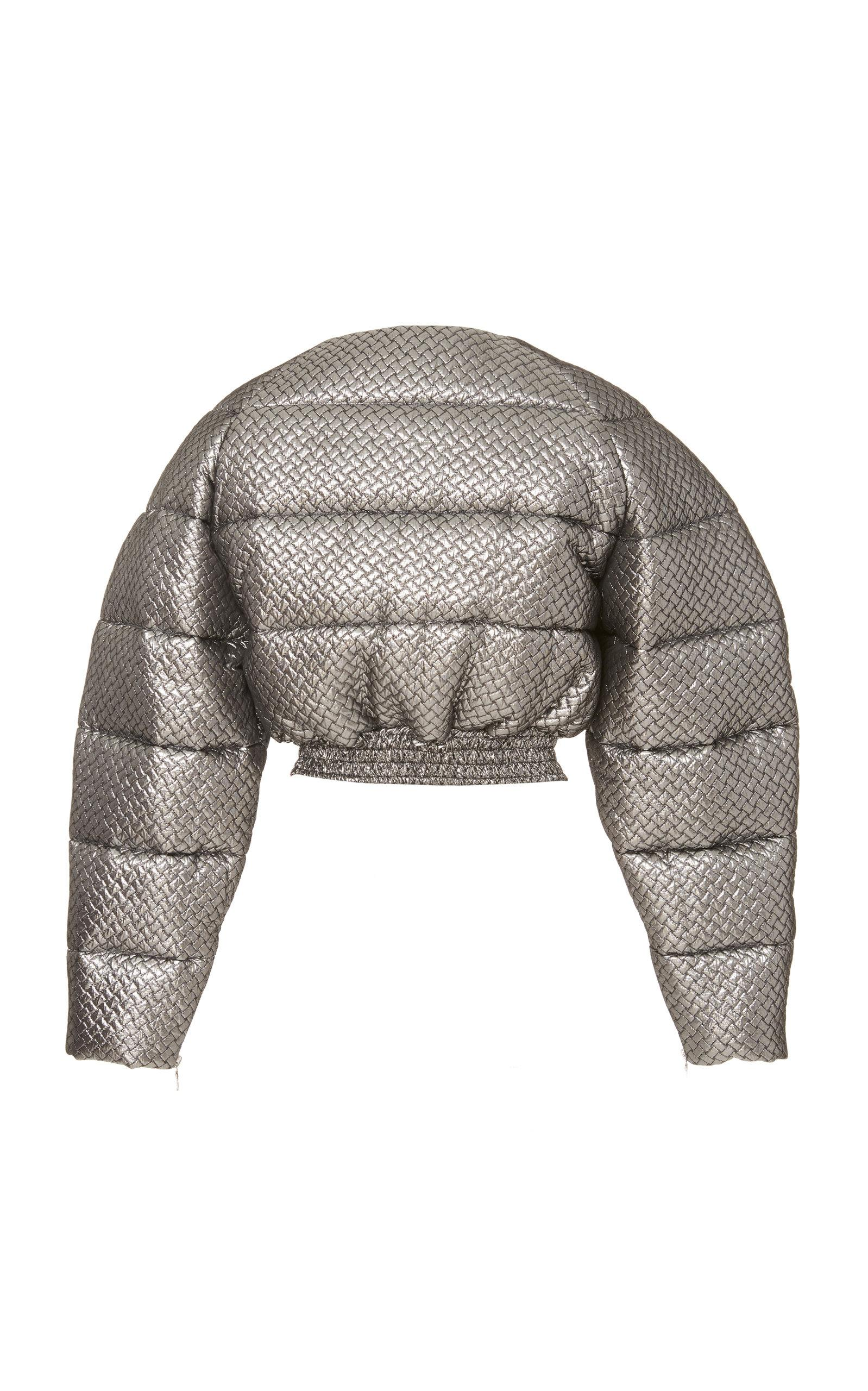Christian Siriano Denim Cropped Matelasse Puffer Jacket in ...