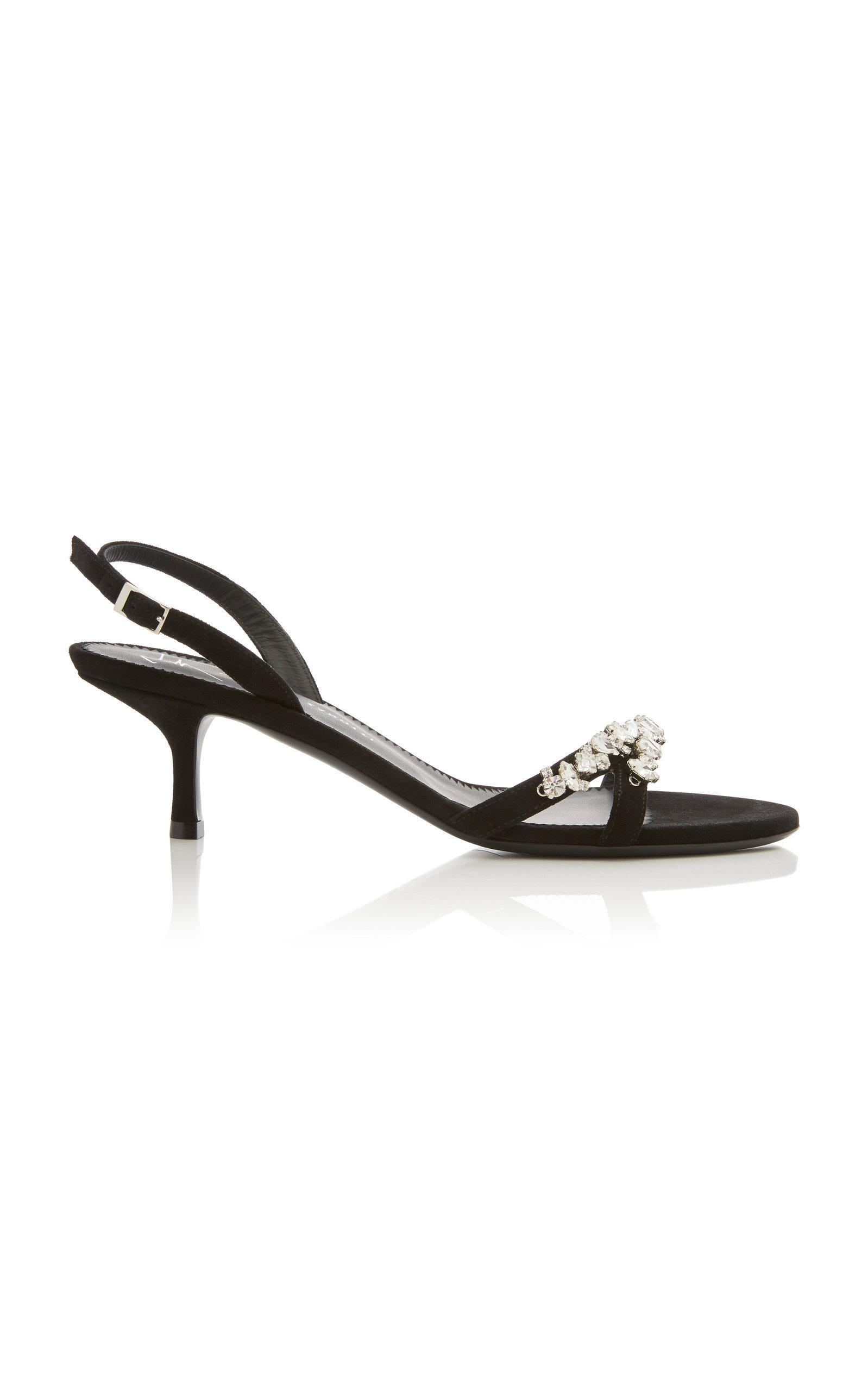 5fafac34dd4 Giuseppe Zanotti. Women s Black Alien Crystal-embellished Suede Slingback  Sandals