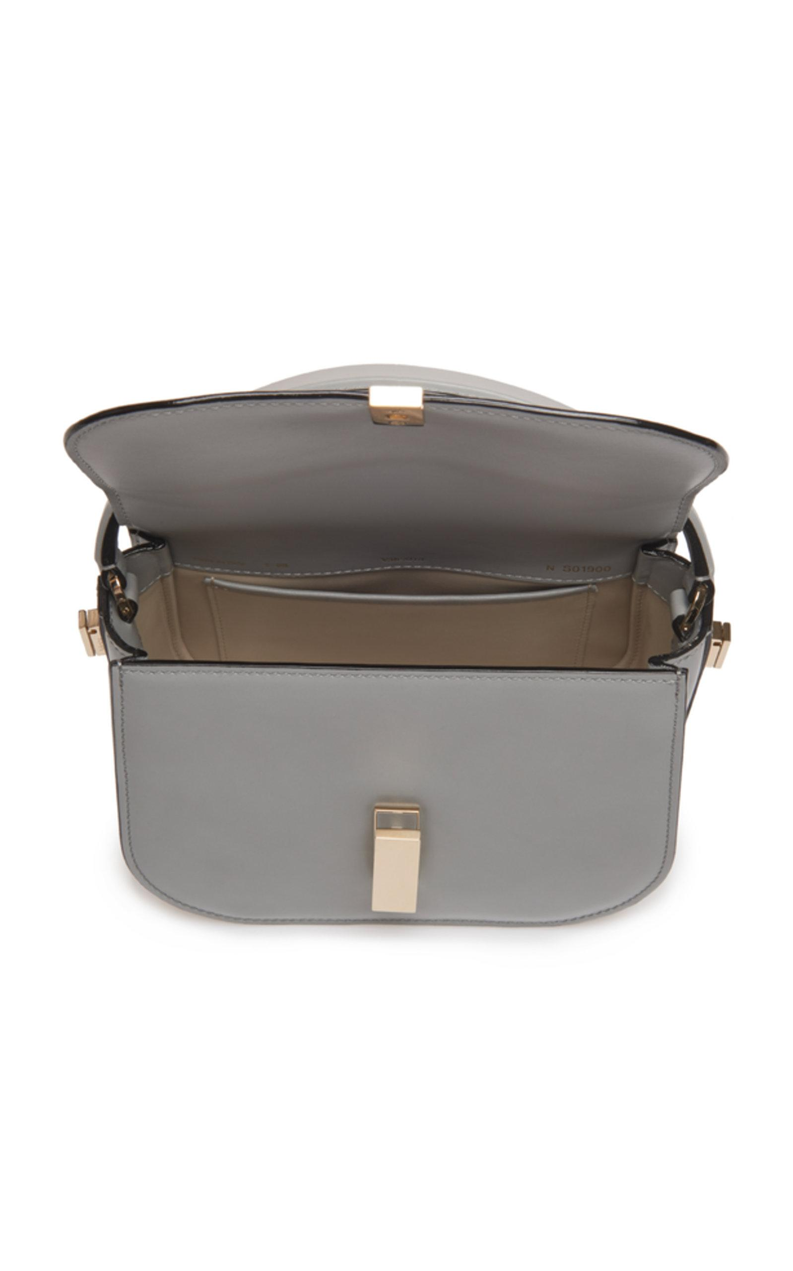 Valextra Iside Mini Leather Top Handle Bag in Grey (Grey)