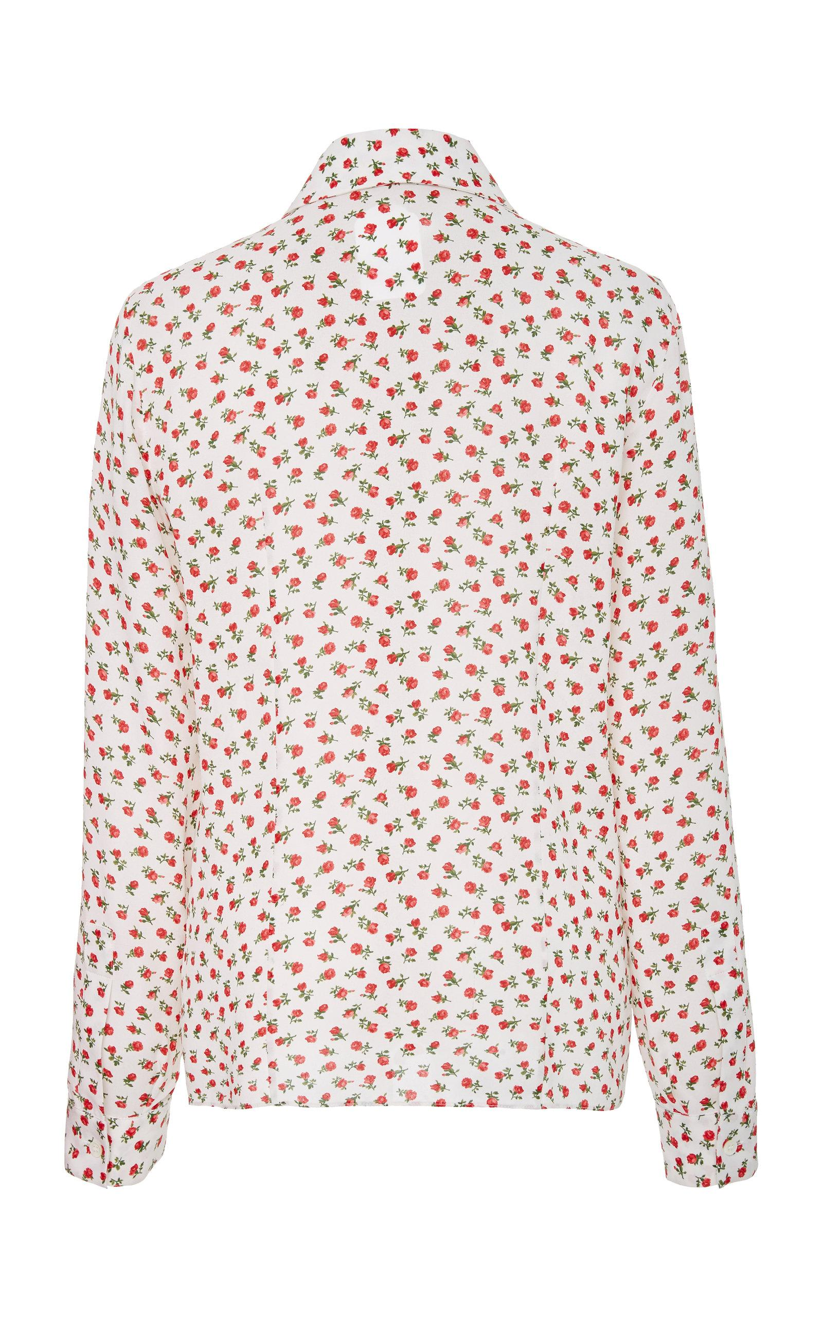 a520dc2438aad7 Lyst - Michael Kors Floral-print Silk Shirt in Pink