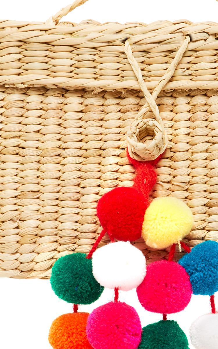 Nannacay Baby Roge Pom Pom-embellished Woven Raffia Tote