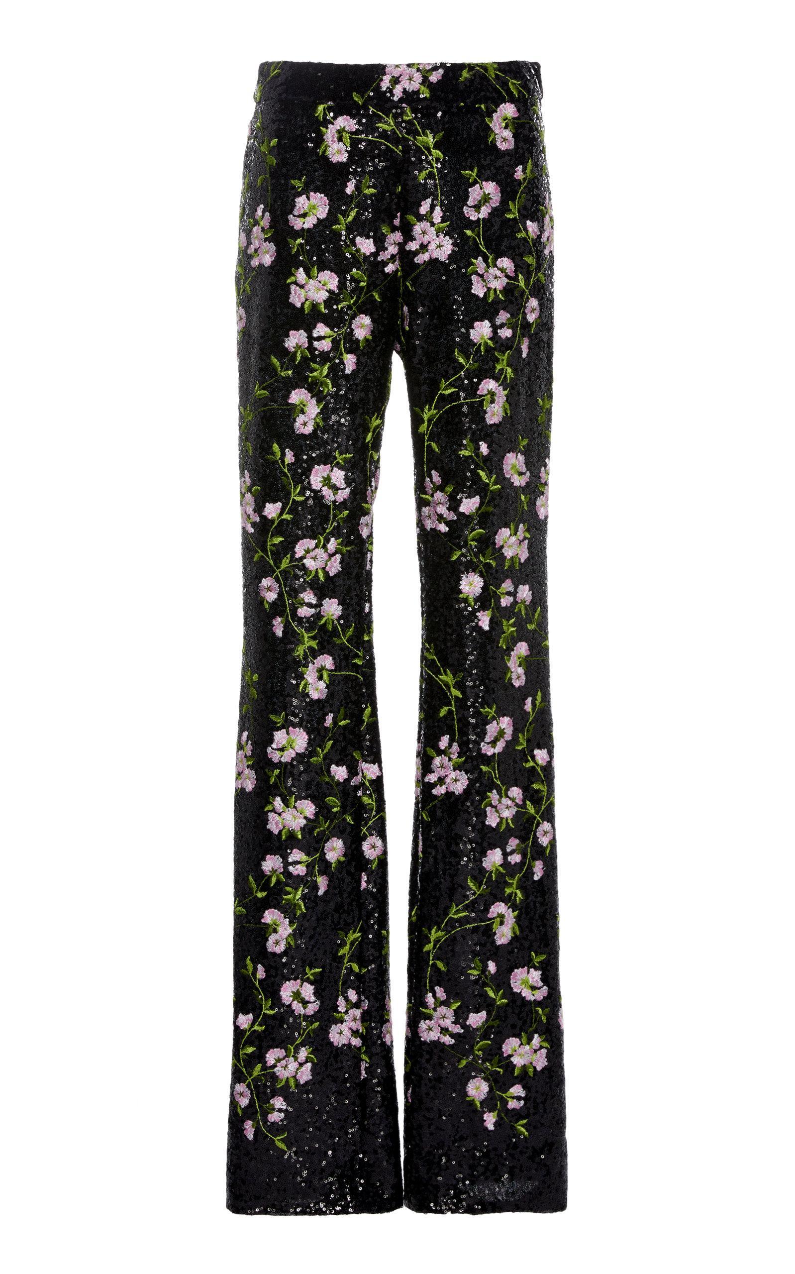 59faa70e08b7 Giambattista Valli Sequin Embroidered Flared Leg Pants With Floral ...