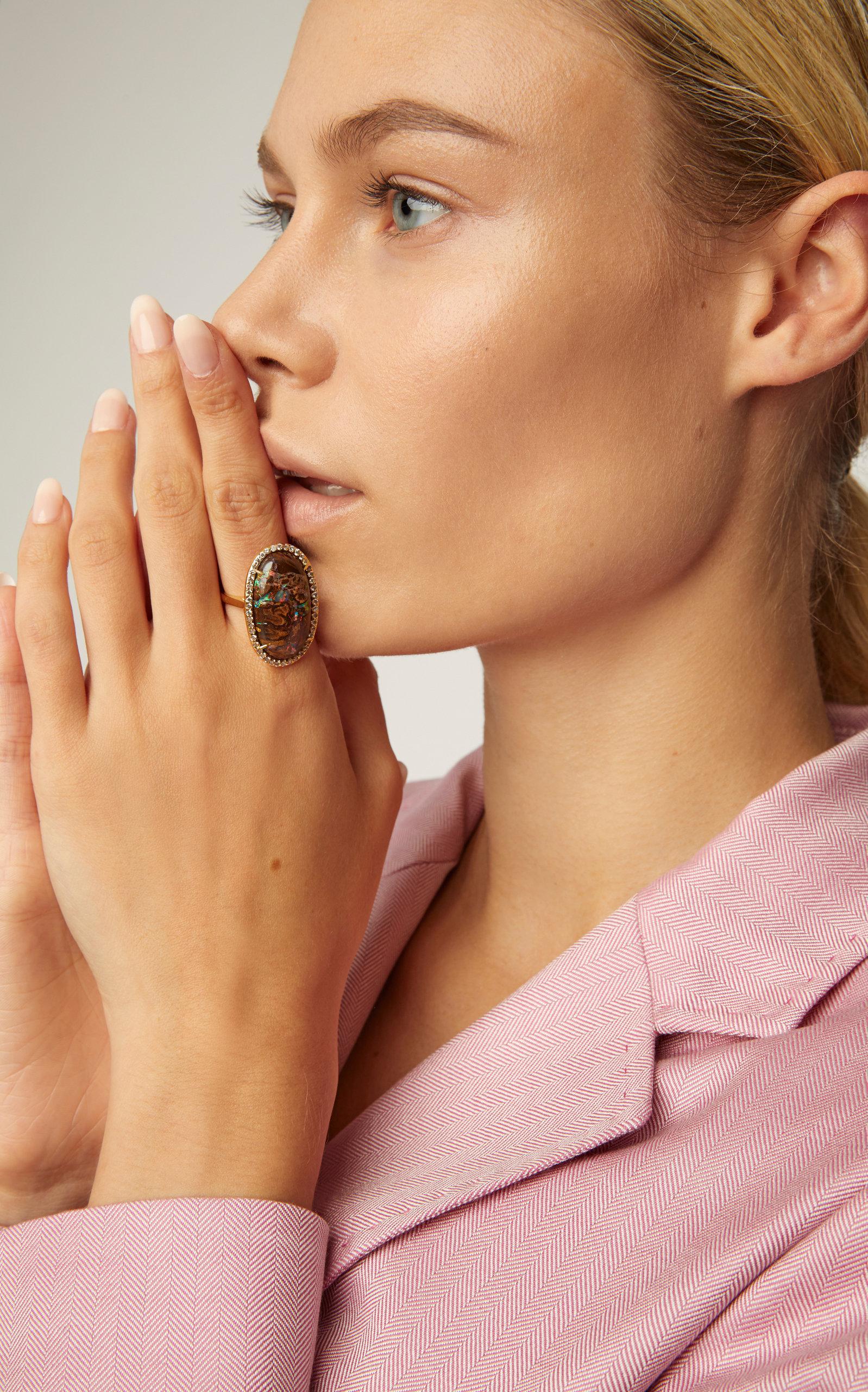 Kimberly Mcdonald 18k Gold Yawah Opal And Diamond Ring In Brown Lyst