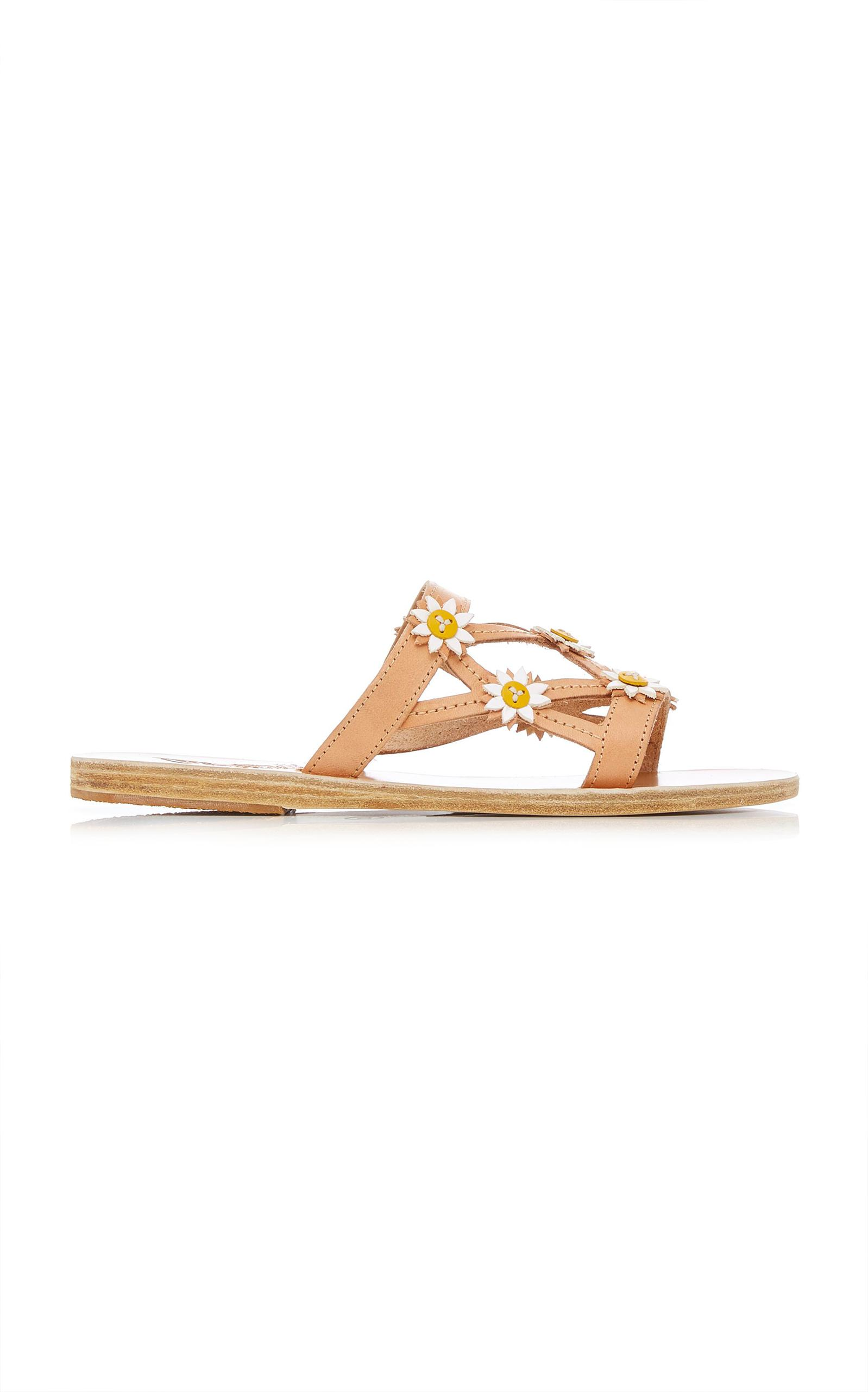 Peonia Floral-Embellished Leather Sandals Ancient Greek Sandals 7TmIIWqB