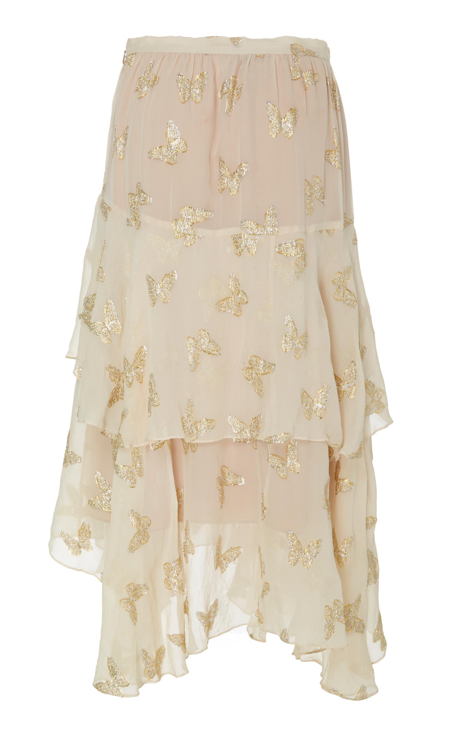 LoveShackFancy Silk Alex Butterfly Midi Skirt in Natural