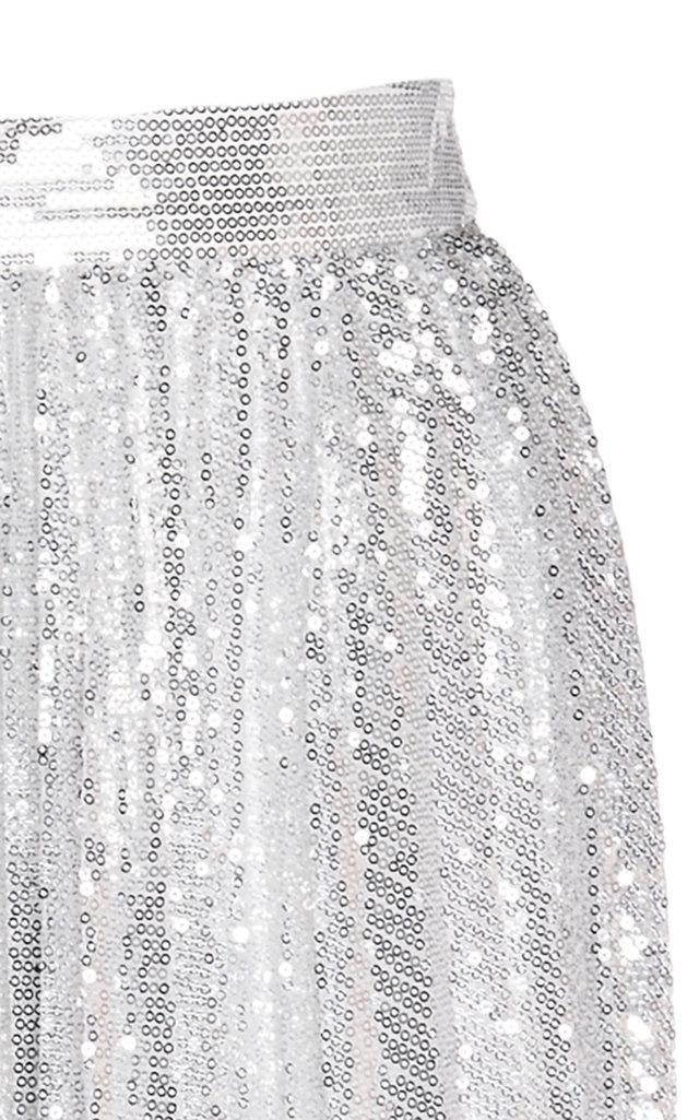 Stella High Waist Sequin Embroidered Midi Skirt