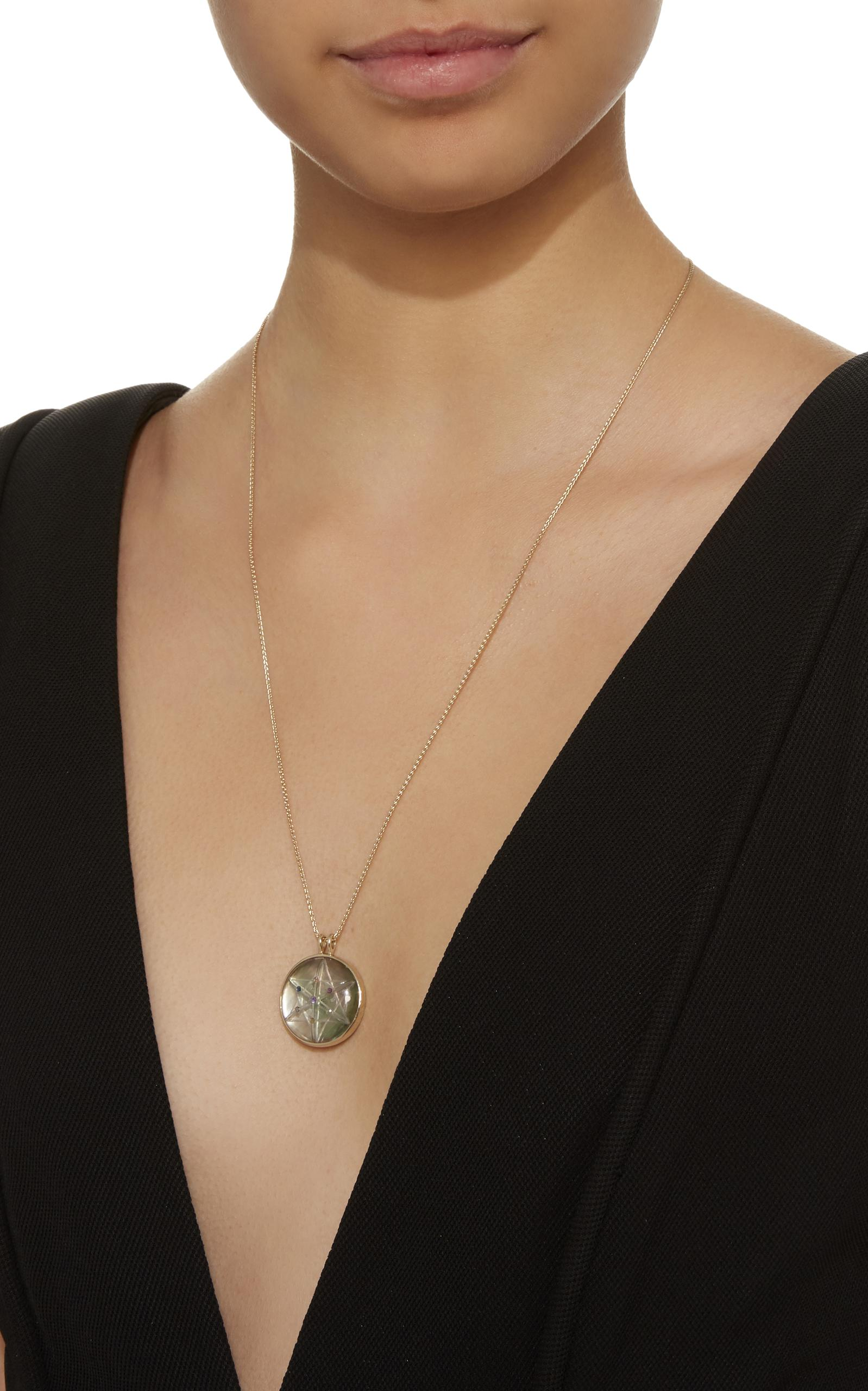 Noor Fares Carved Rock Crystal Pendant Necklace in Metallic