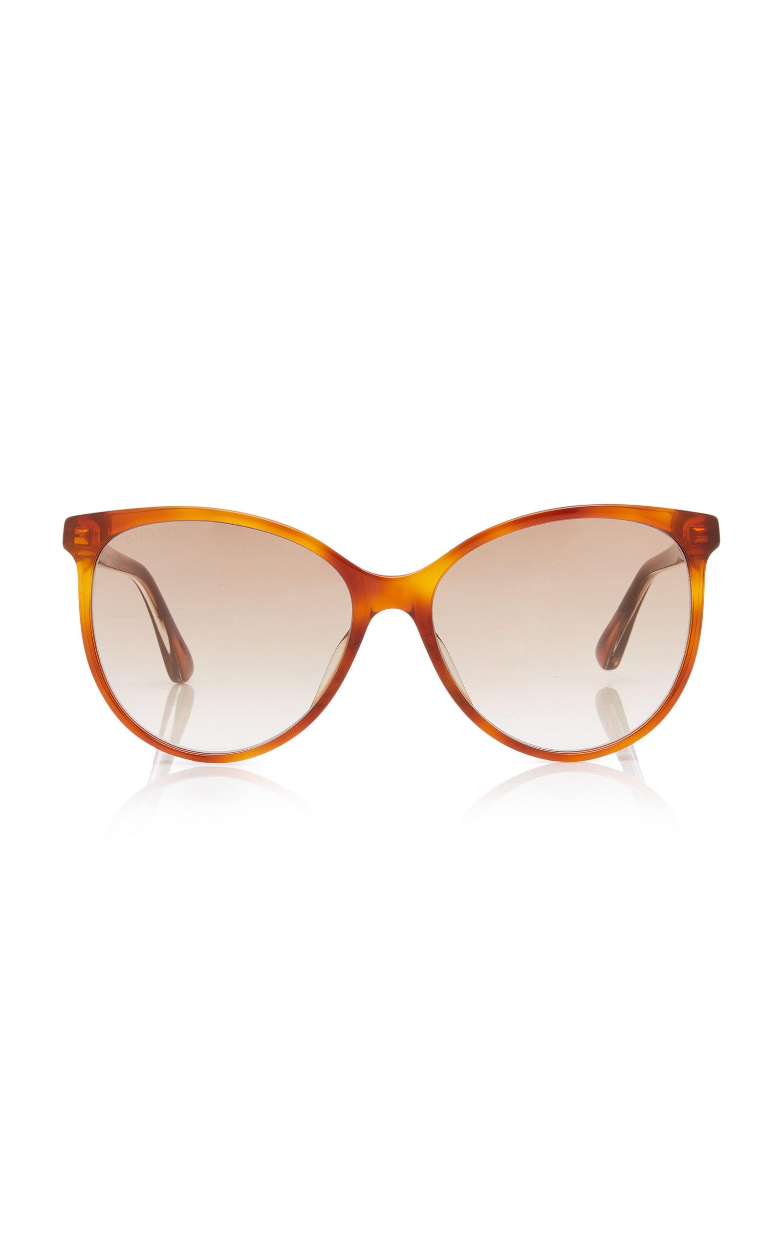 d7a6cbef1df Gucci Web Acetate Cat-eye Sunglasses in Brown - Lyst
