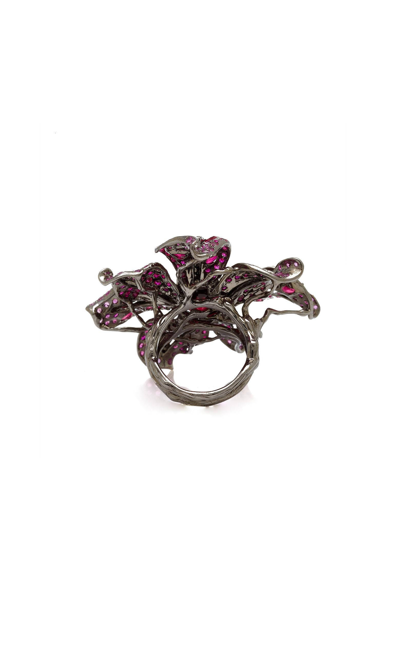 Wendy Yue Crimson Garden Lily Ring in Red