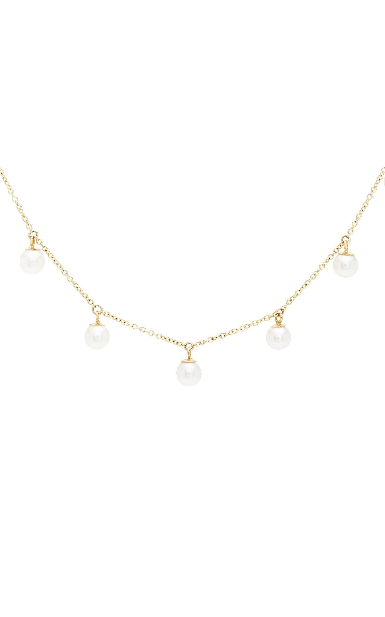 Zoe Chicco 14k Dangling Pearl Choker Necklace in Gold (Metallic)