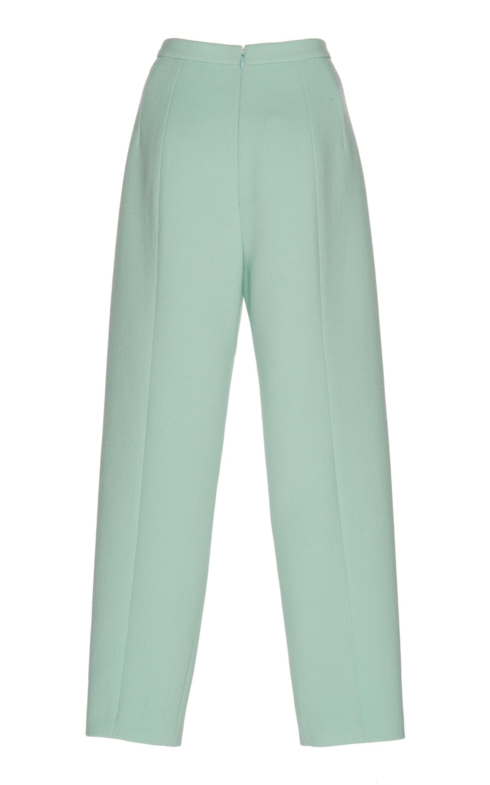 Delpozo Wool Pleated Crêpe Pants in Green