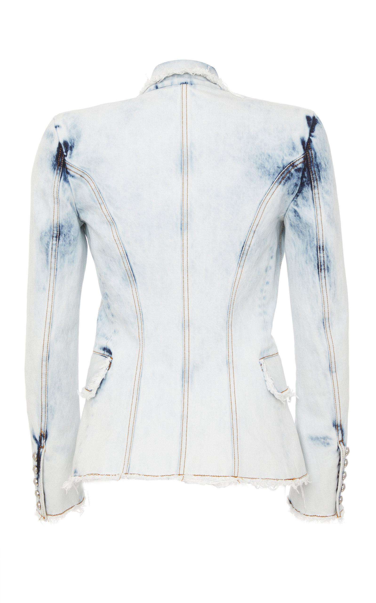 f61124f14f25 Lyst - Balmain Tailored Bleached Denim Blazer in Blue