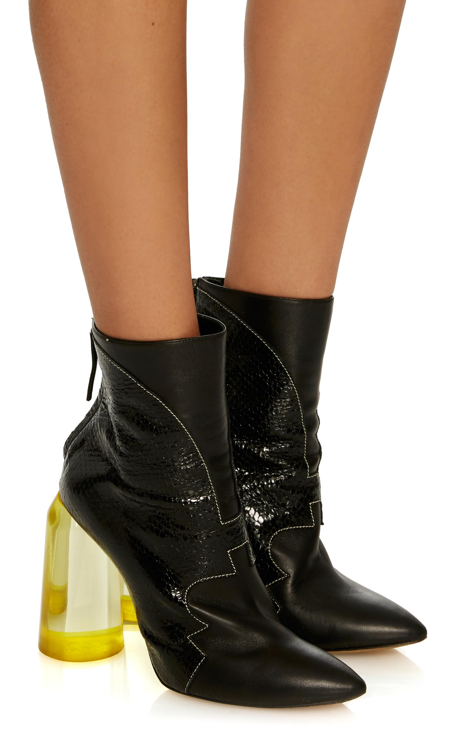 Ellery Leather High Heel Ankle Boot With Yellow Heel in Black