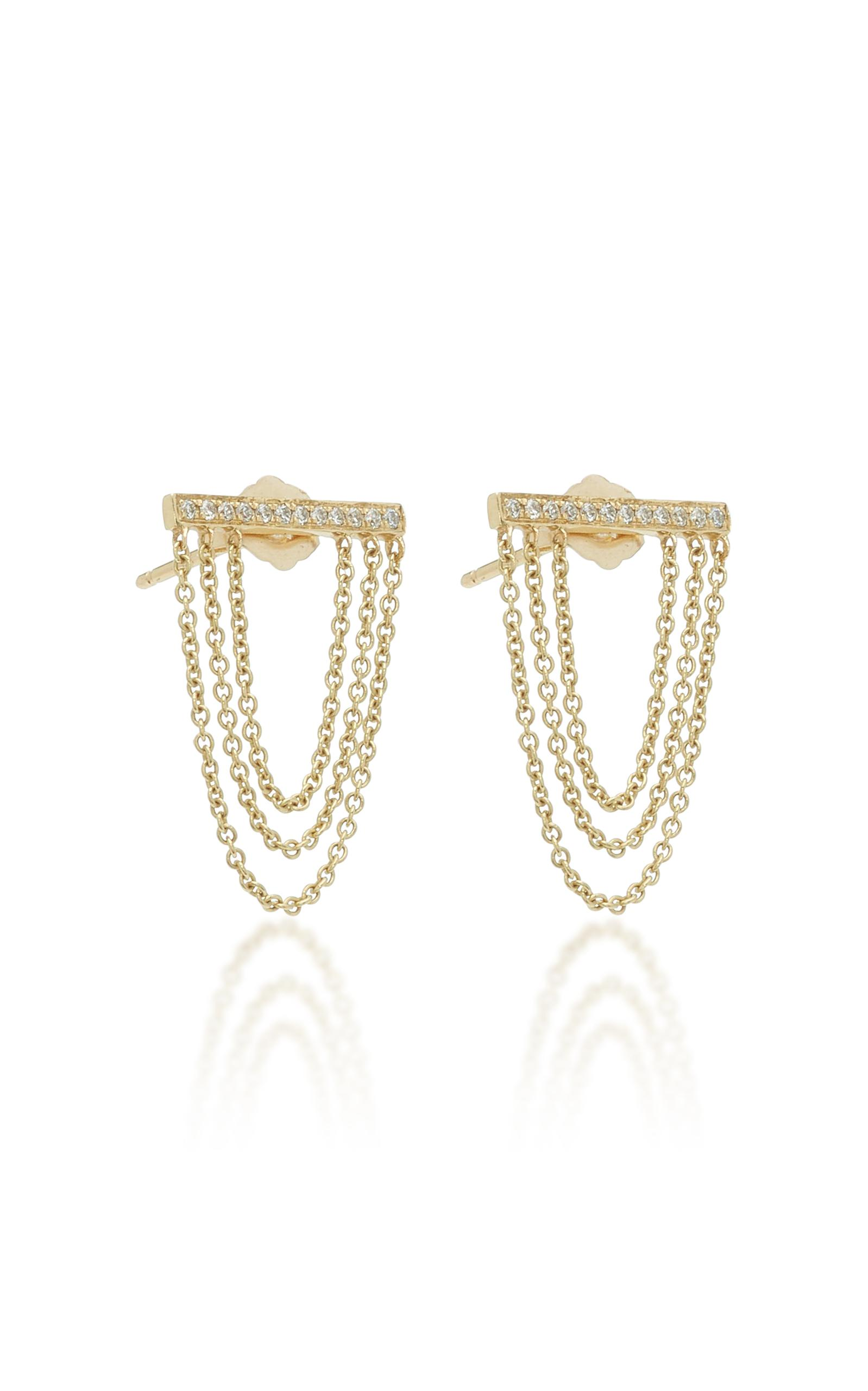 Sydney Evan Pave Triple Hanging Chain Studs in Gold (Metallic)