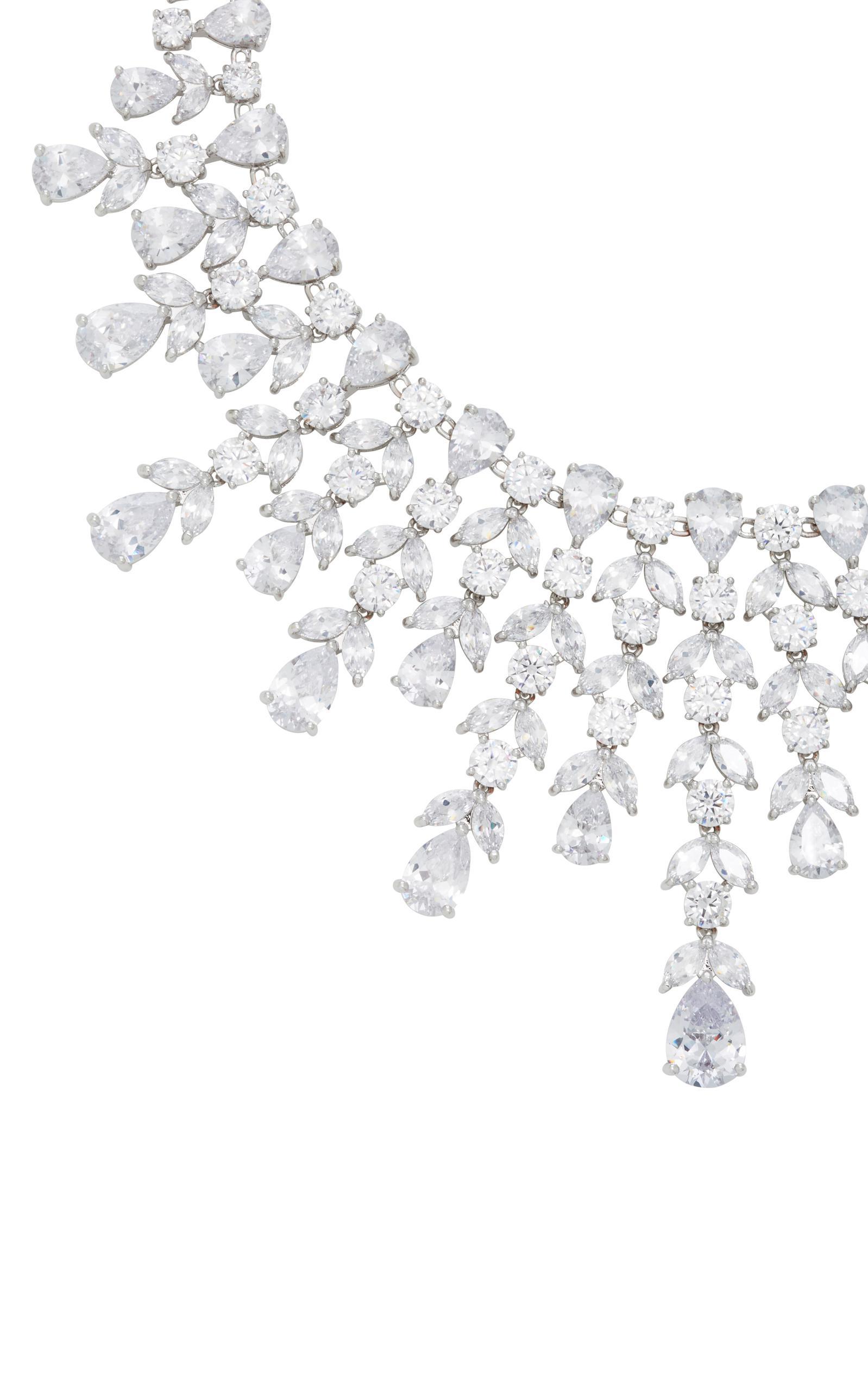 Fallon Monarch Elizabeth Bib Rhodium And Crystal Necklace in Metallic
