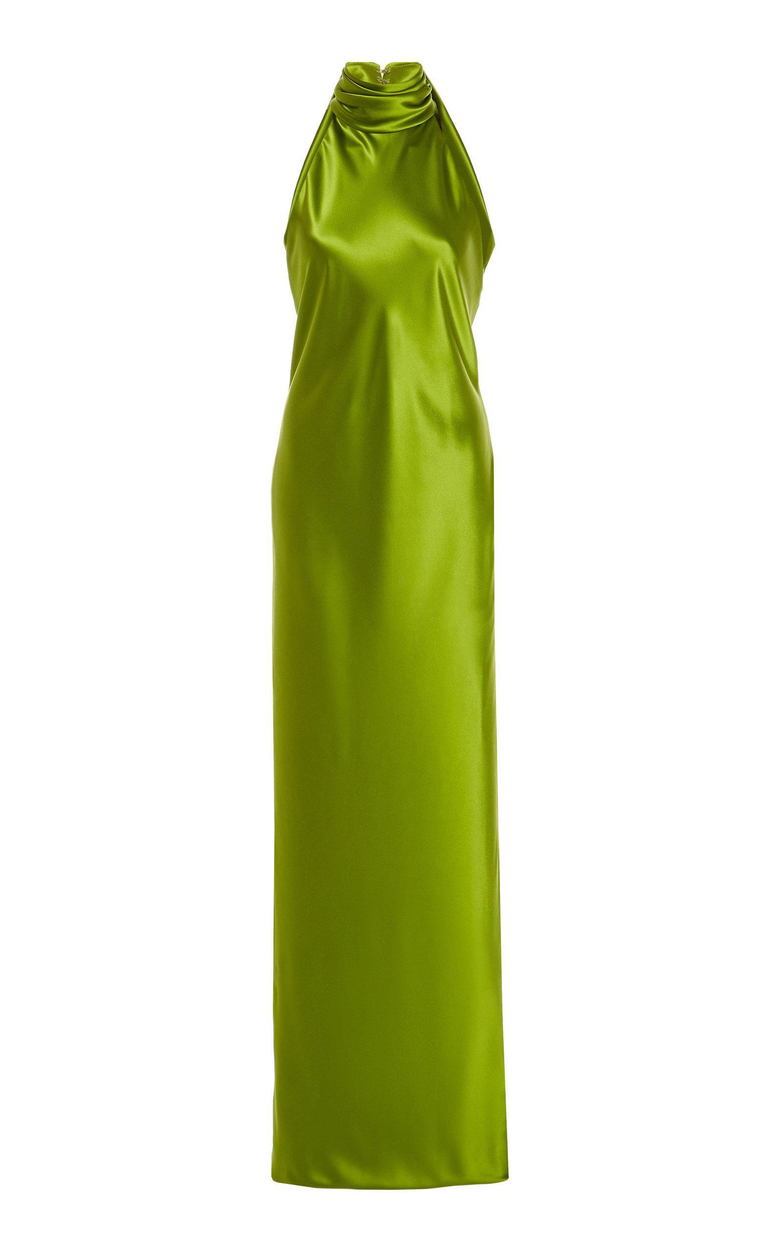 fb435493148 Brandon Maxwell. Women s Green Satin Halterneck Gown.  3