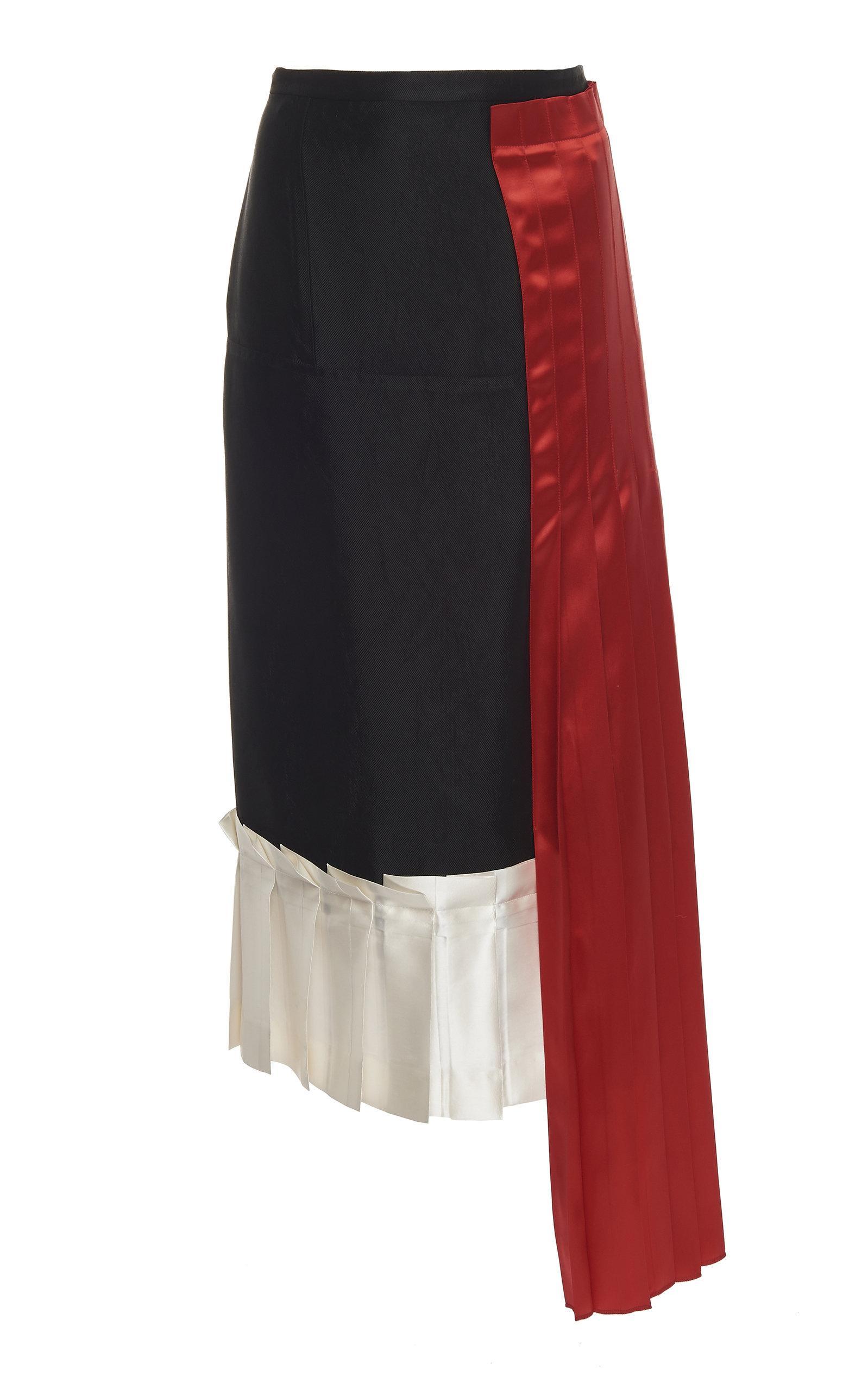 52a642ab93 Lyst - Marni Draped Satin Pleated Skirt in Black