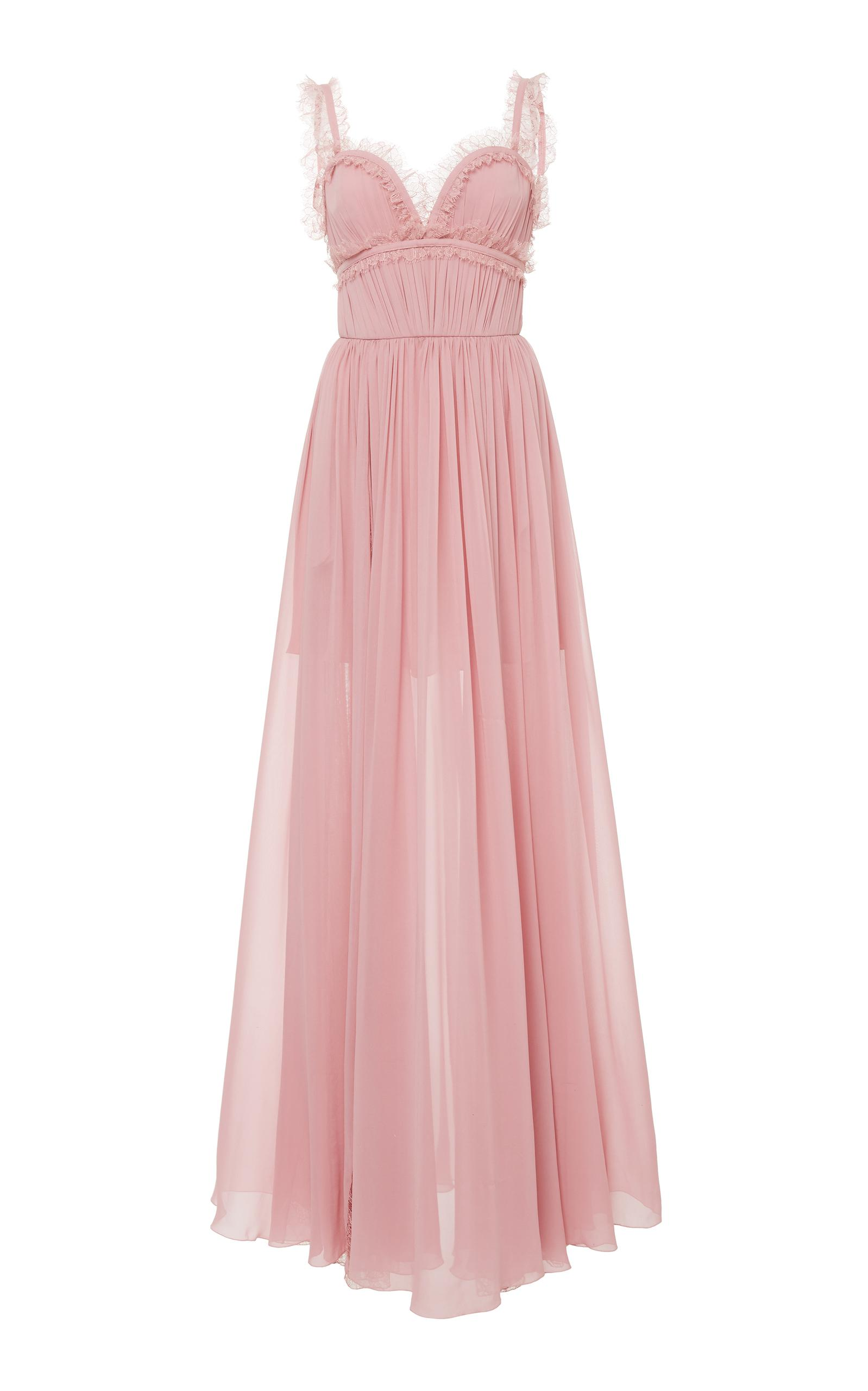 Lyst - Elie saab Sleeveless Embroidered Gown in Pink 7bd8a20e4