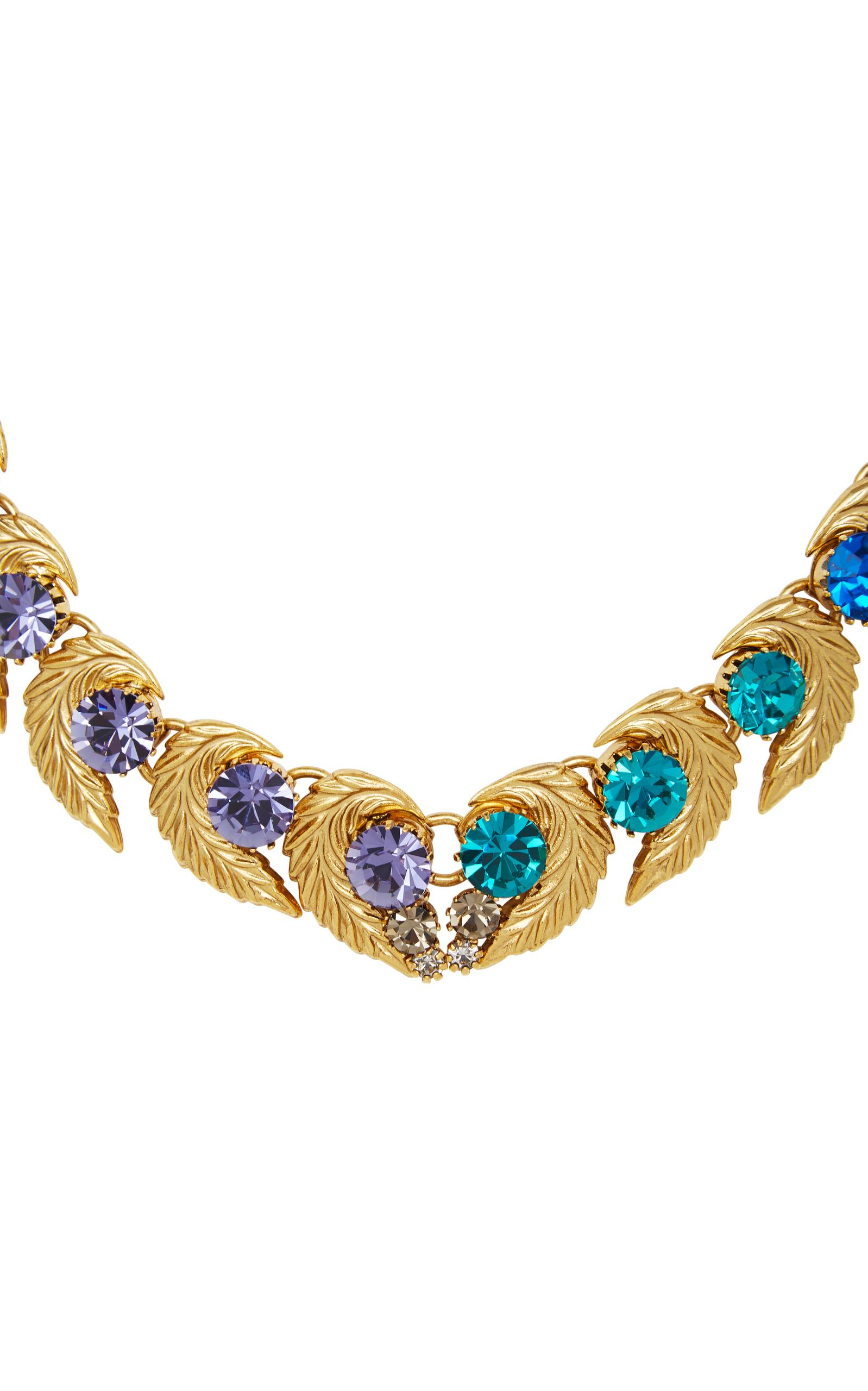 Nicole Romano 18k Gold-plated Leaf And Colored Crystal Necklace in Blue