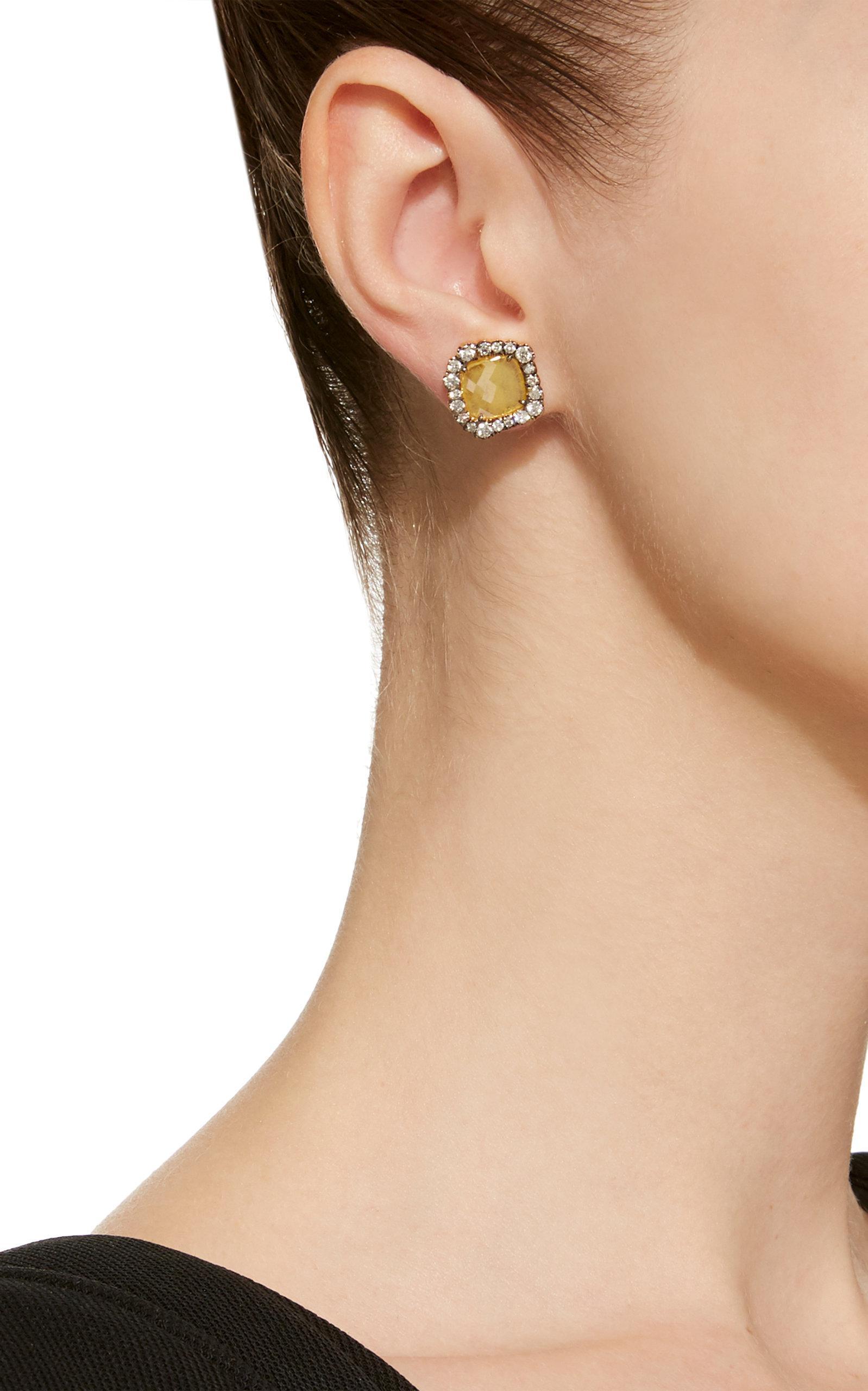 Kimberly Mcdonald One-of-a-kind Yellow Diamond Slice Studs in Metallic