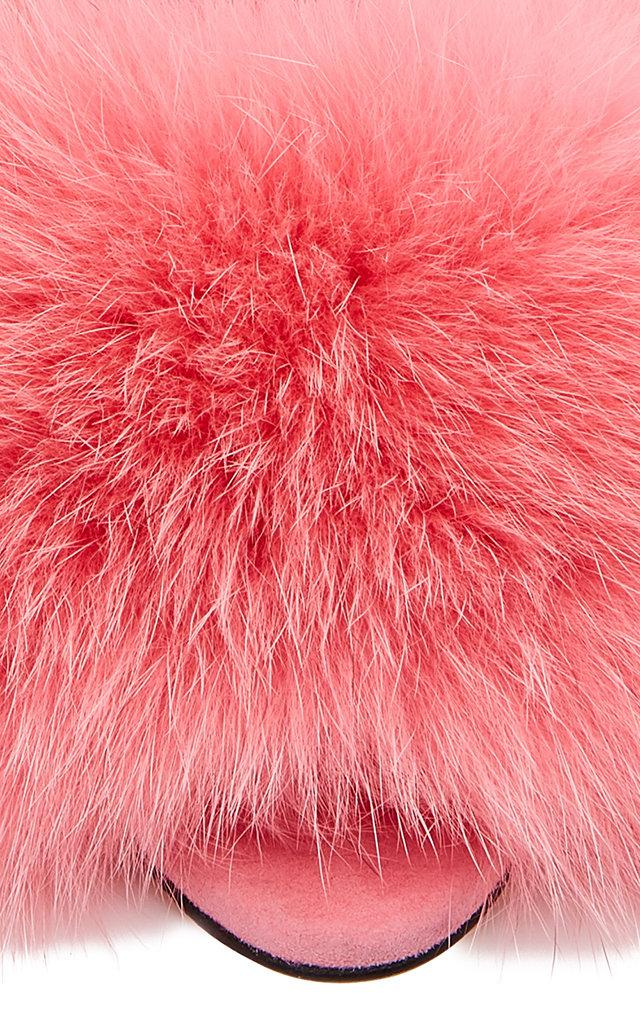 Brian Atwood Melly Fur Sandal in Pink