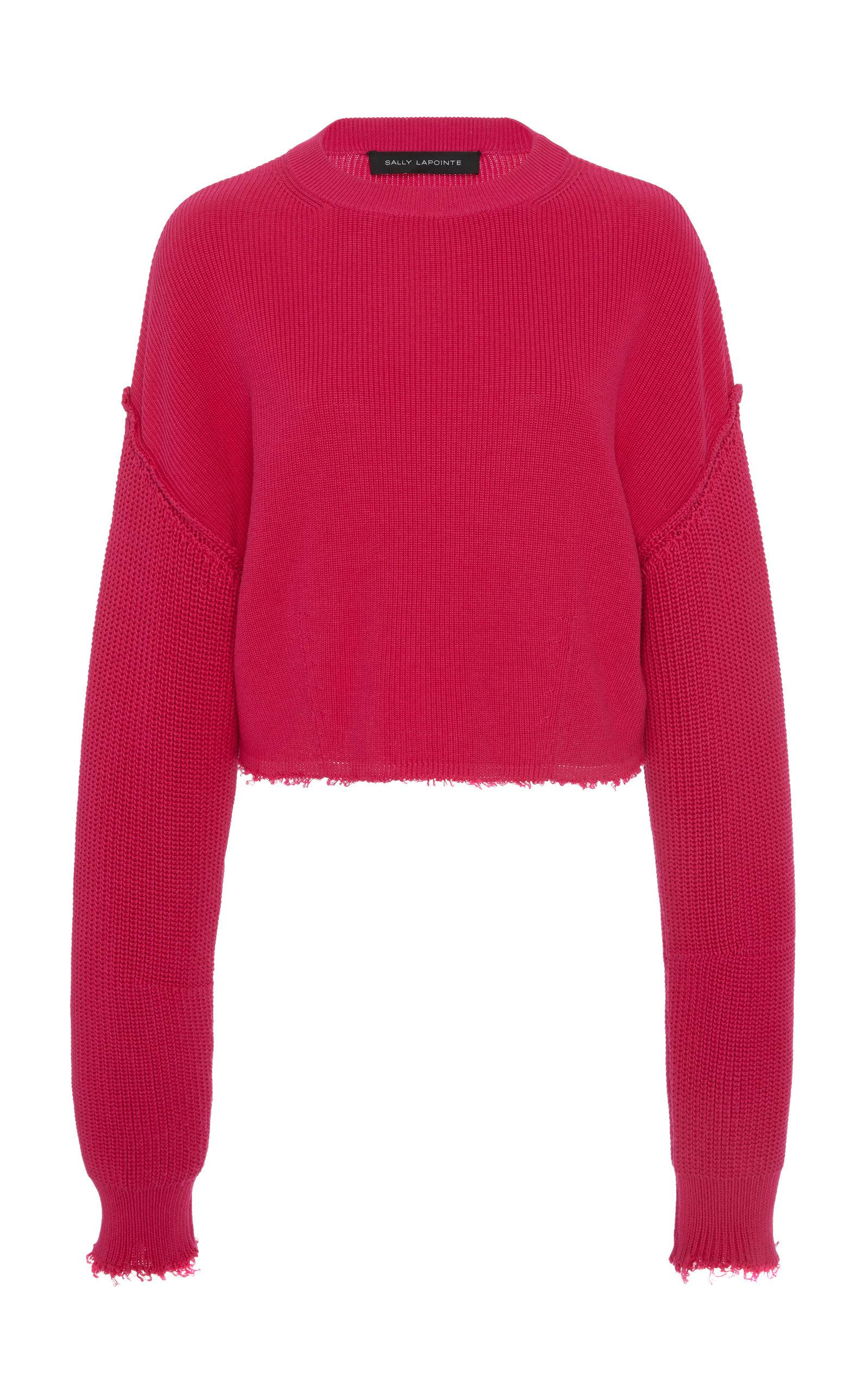 bf4855145f0 Sally Lapointe Pink Airy Silk And Cashmere Cable-knit Cropped Sweater