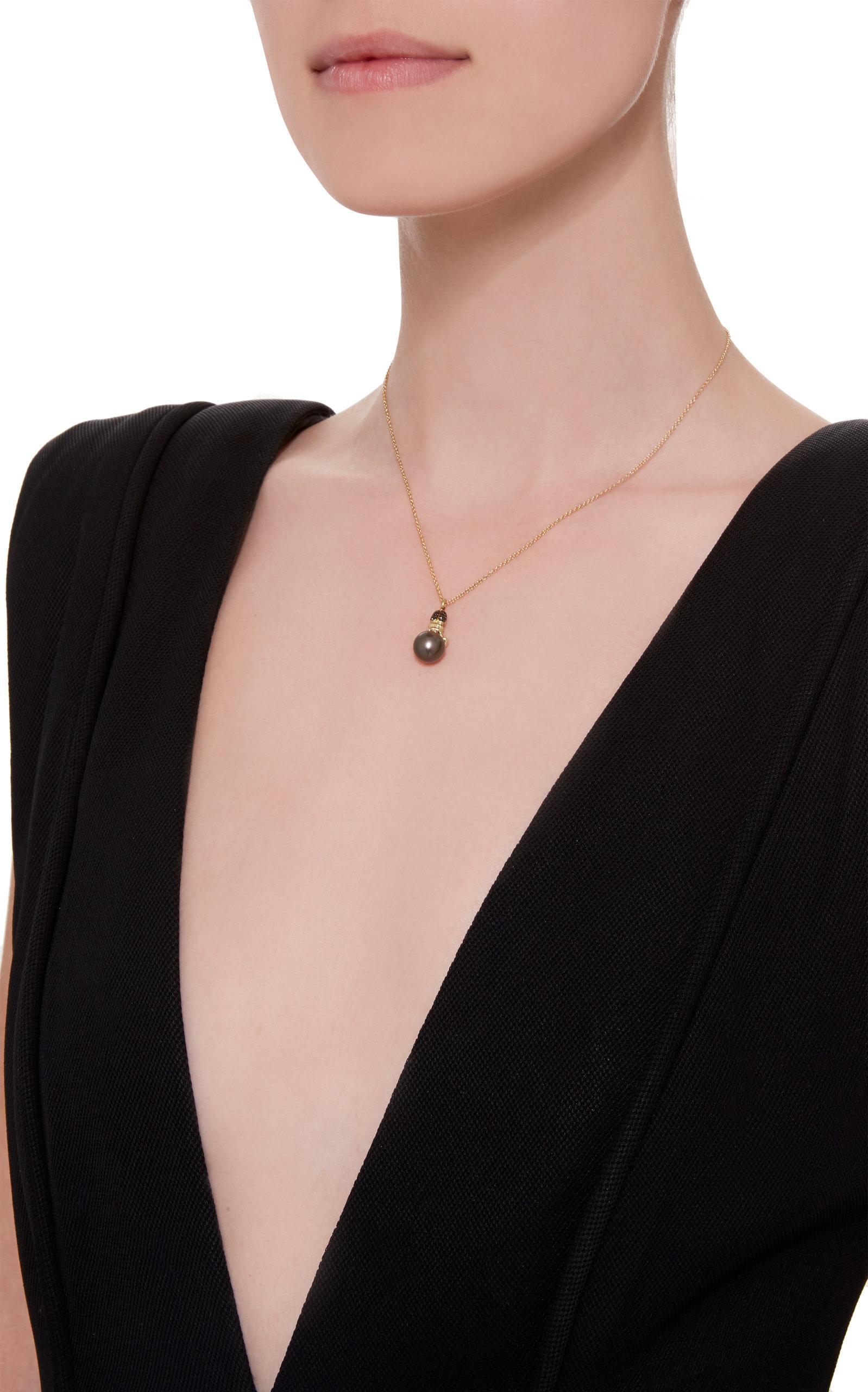 Daniela Villegas Khepri 18k Rose Gold, Garnet And Pearl Necklace in Black