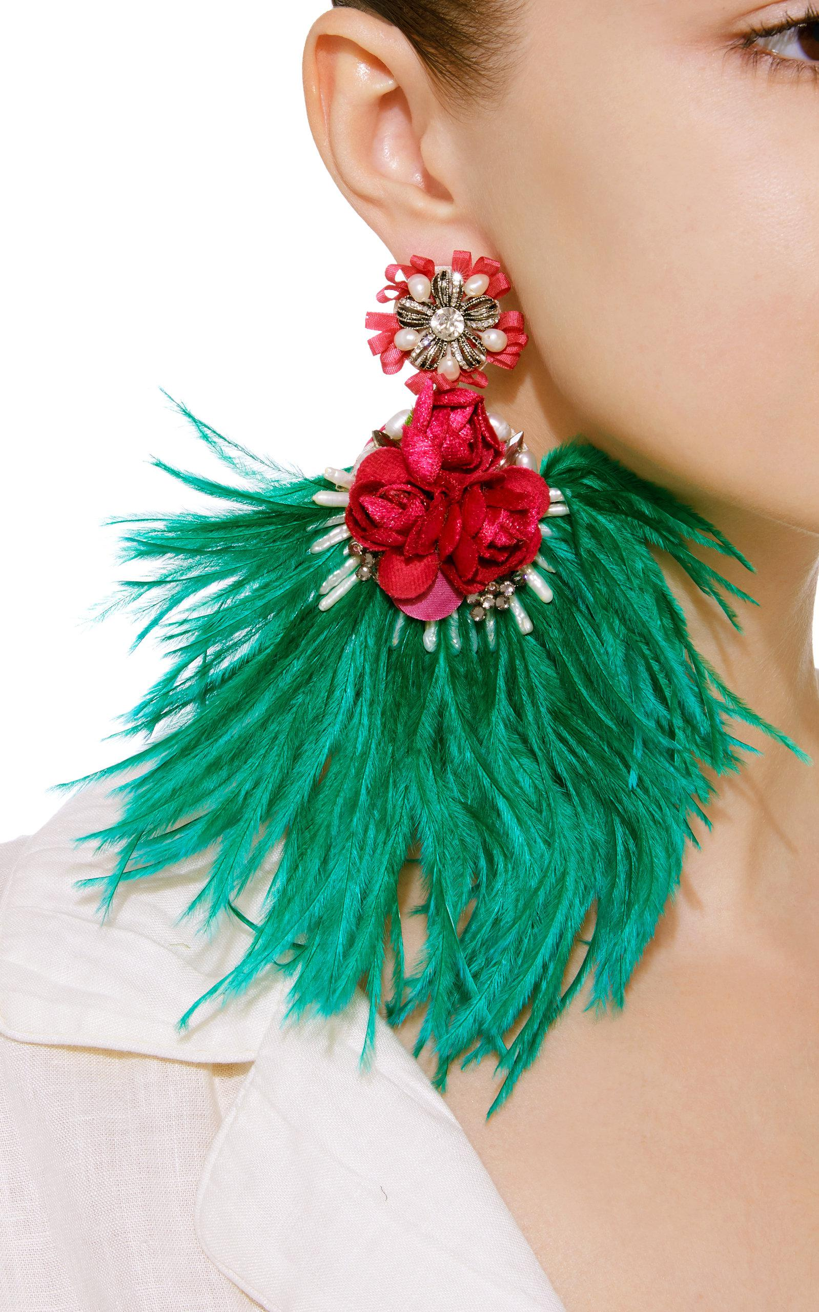 Ranjana Khan Feather Drop Earrings kRKHp