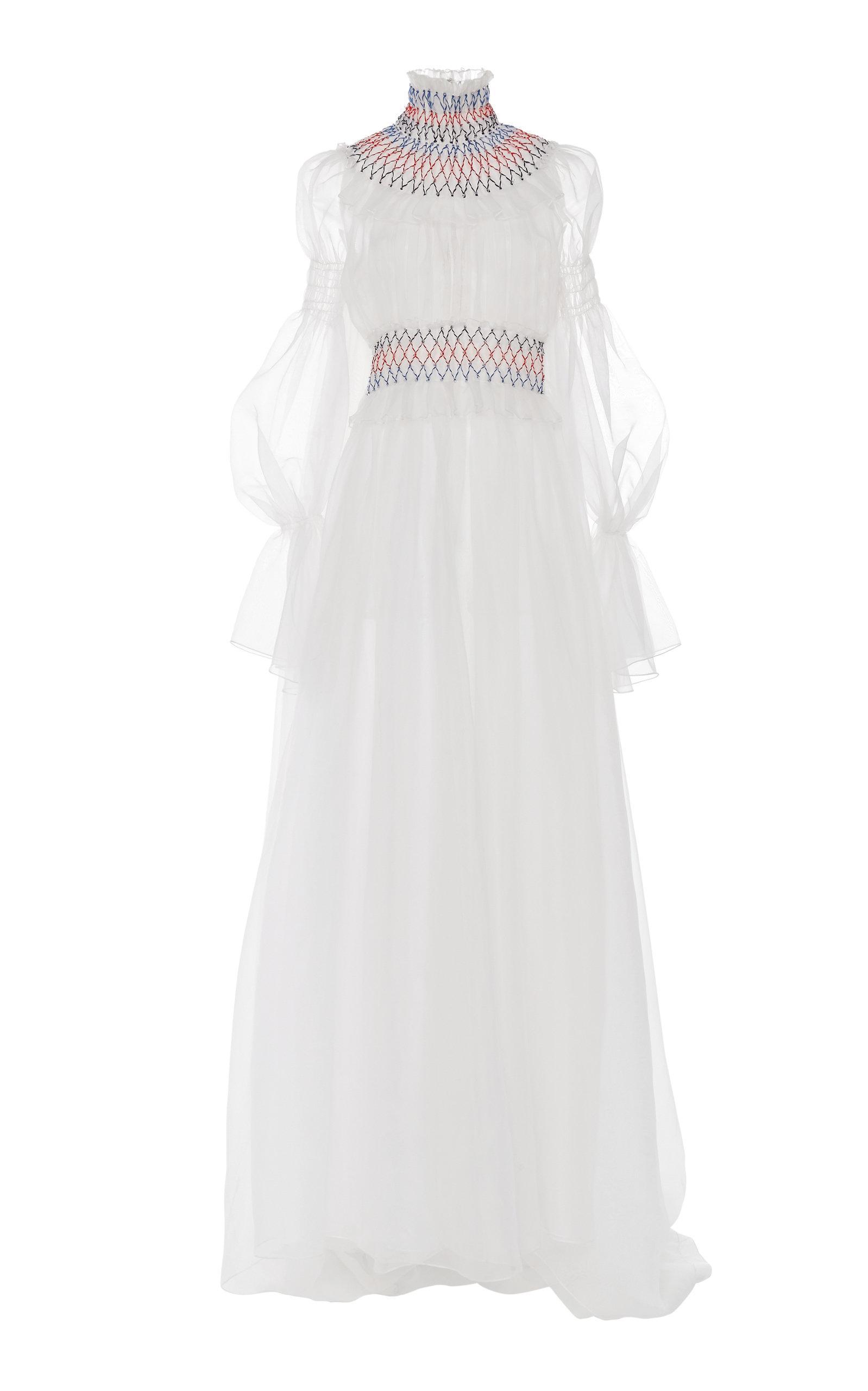 840bedb02d48e Lyst - Carolina Herrera Smock-neck Silk Gown in White