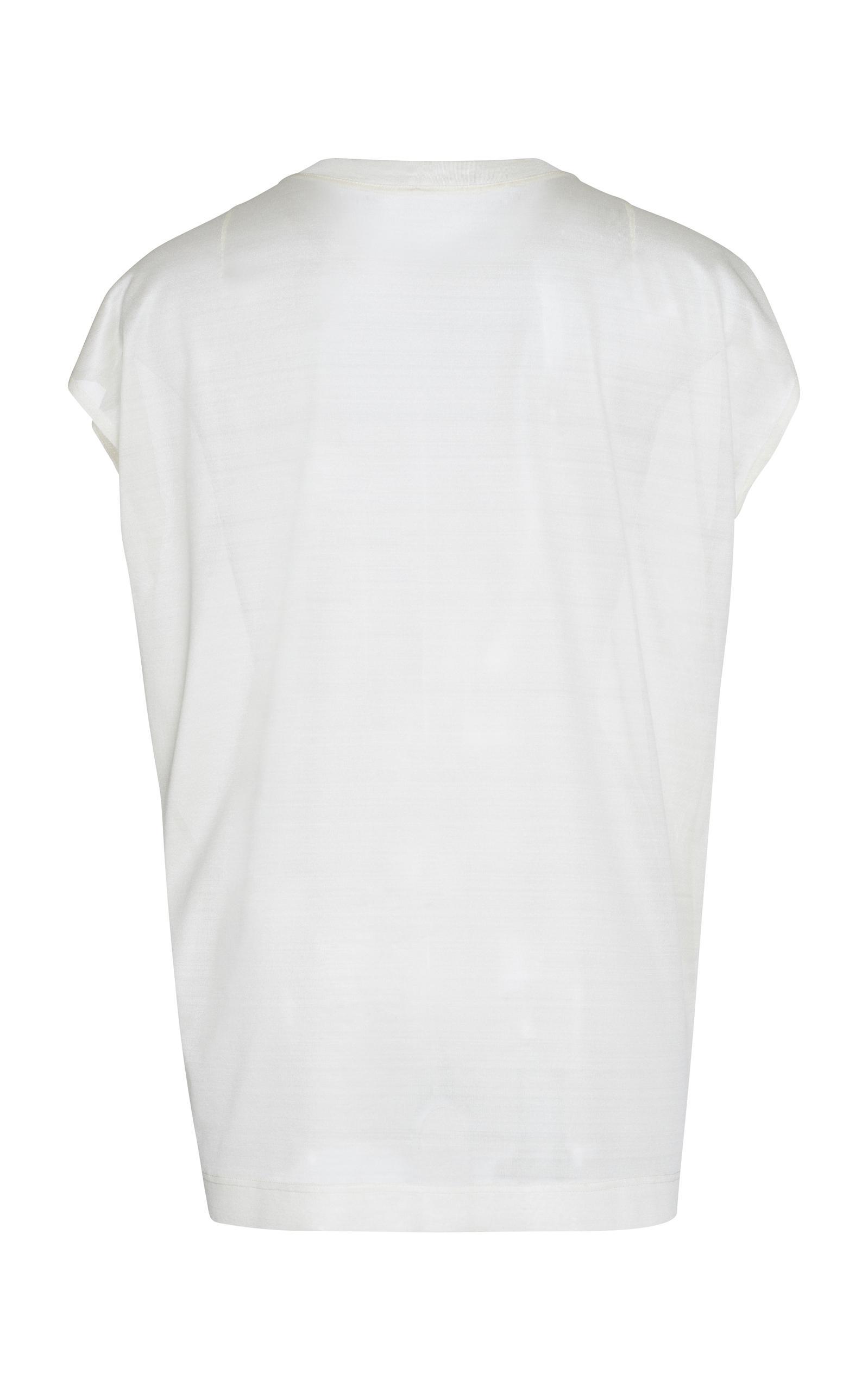 Lyst akris silk t shirt in white for Silk white t shirt