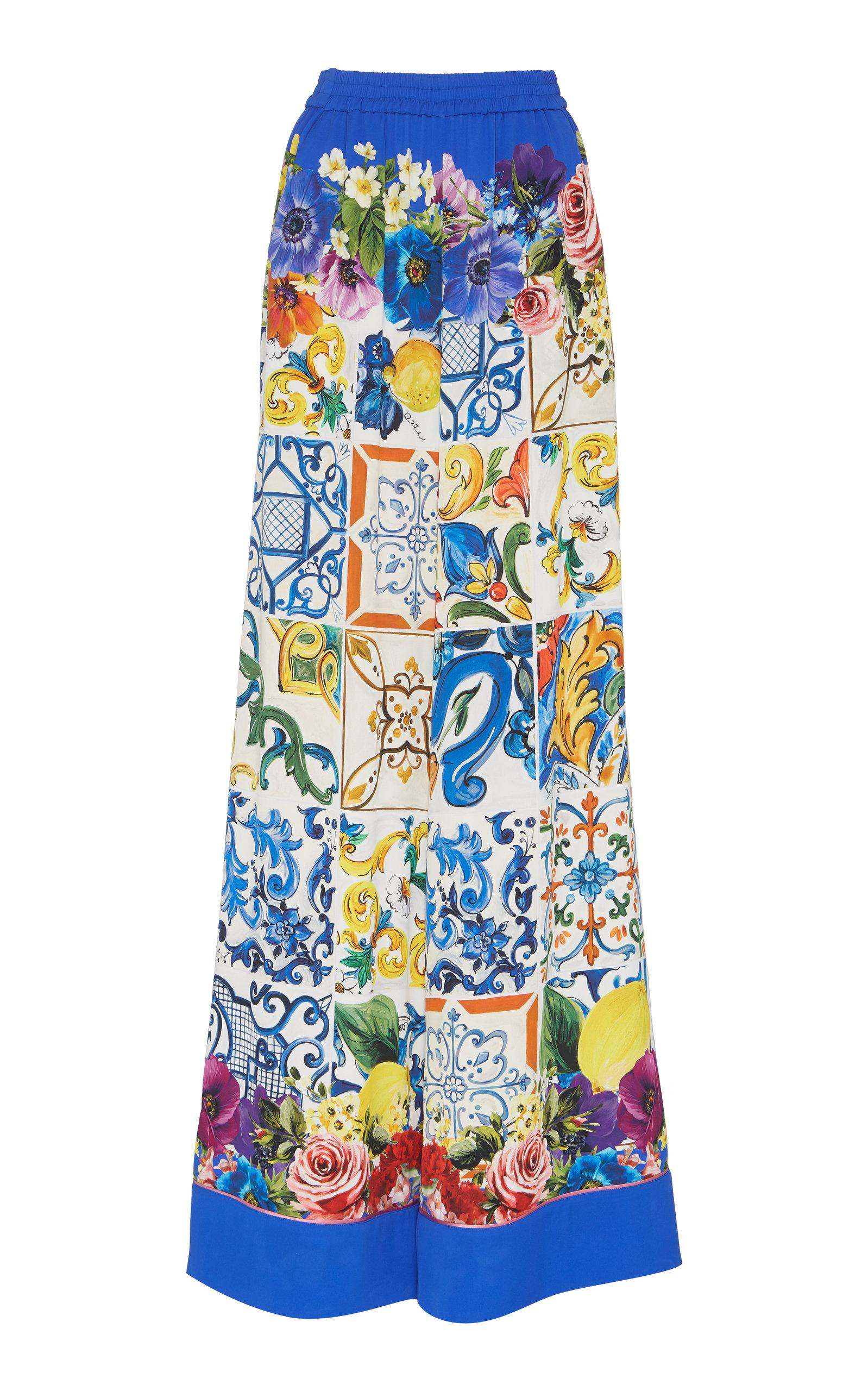 Maiolica Print Stretch-Silk Wide-Leg Pants Dolce & Gabbana