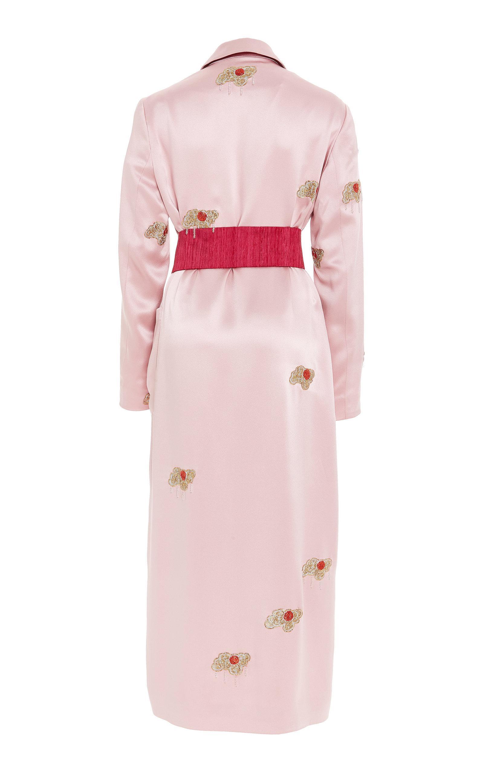 Satin Embroidered Coat Dress Markarian R4Bls