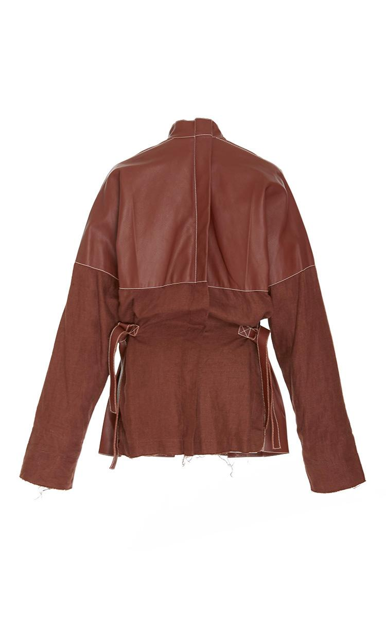 picture printer for iphone lyst loewe leather mock neck jacket in brown 15859