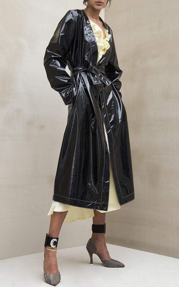 Attico Dara Trench Vinyl Coat In Black Lyst