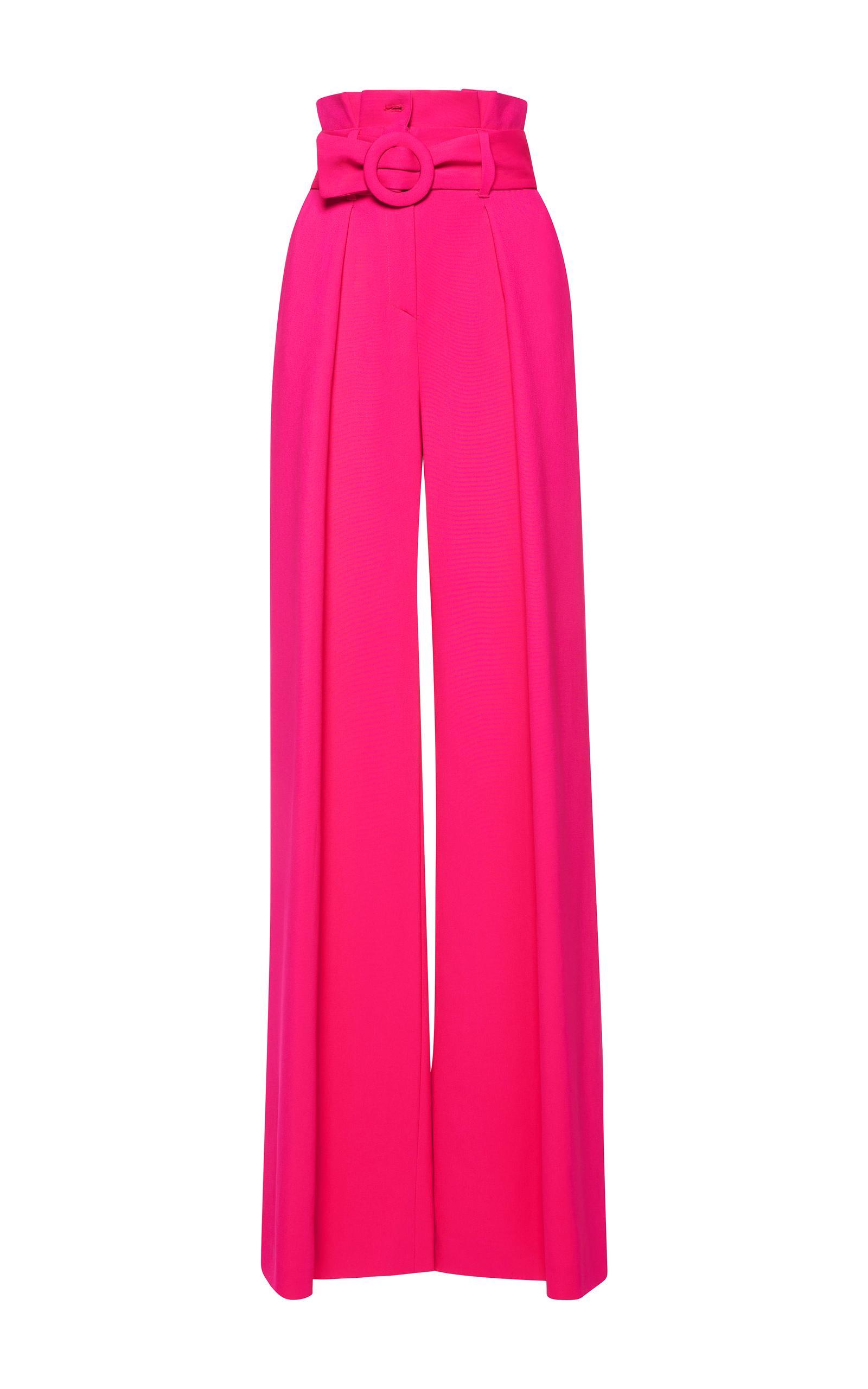 Zuhair murad Pleated High Waist Cady Pants in Pink