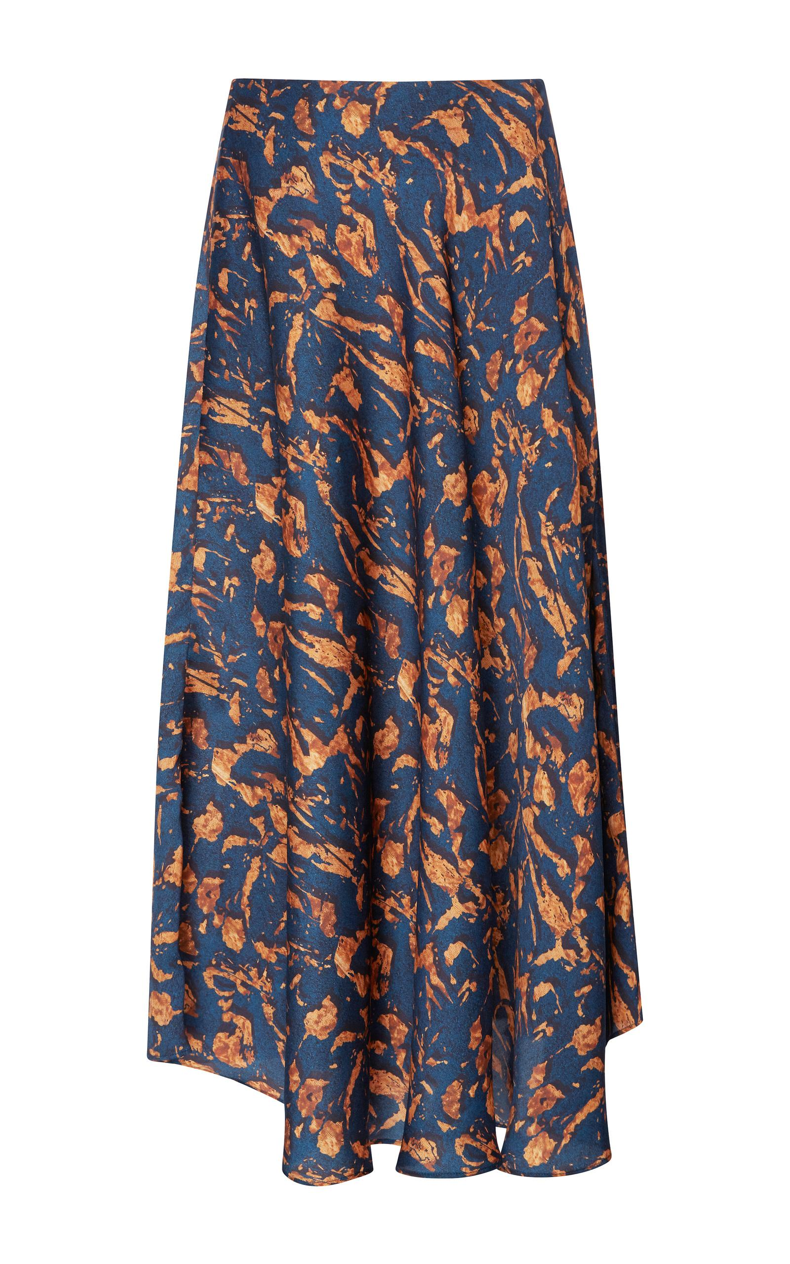 maison p 232 re printed midi circle skirt in blue lyst