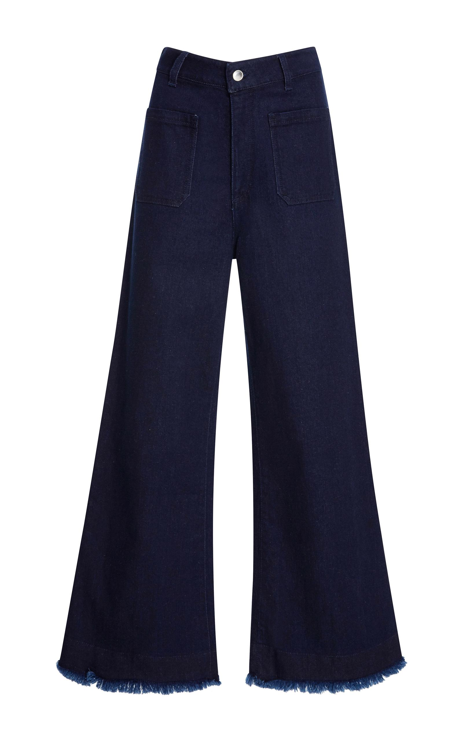 maison p re frayed cropped flare jeans in blue lyst. Black Bedroom Furniture Sets. Home Design Ideas