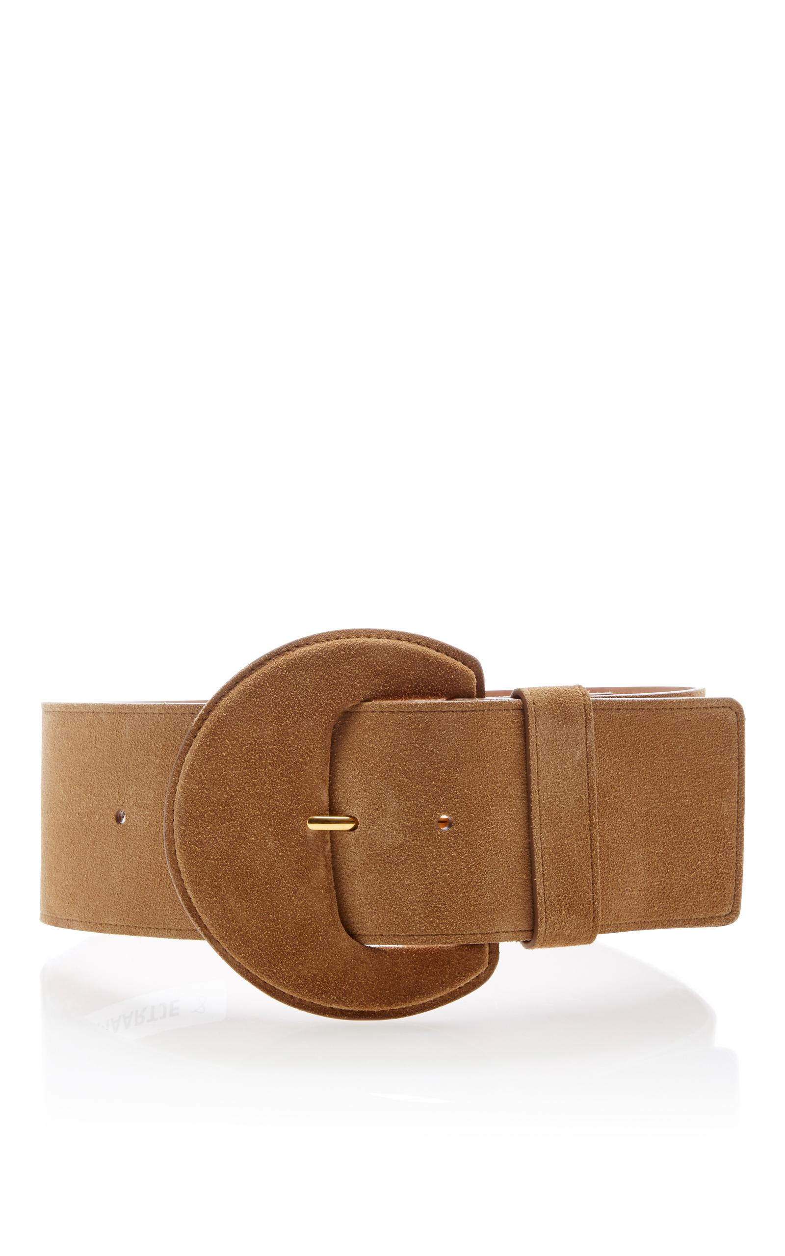 michael kors large leather belt in brown lyst