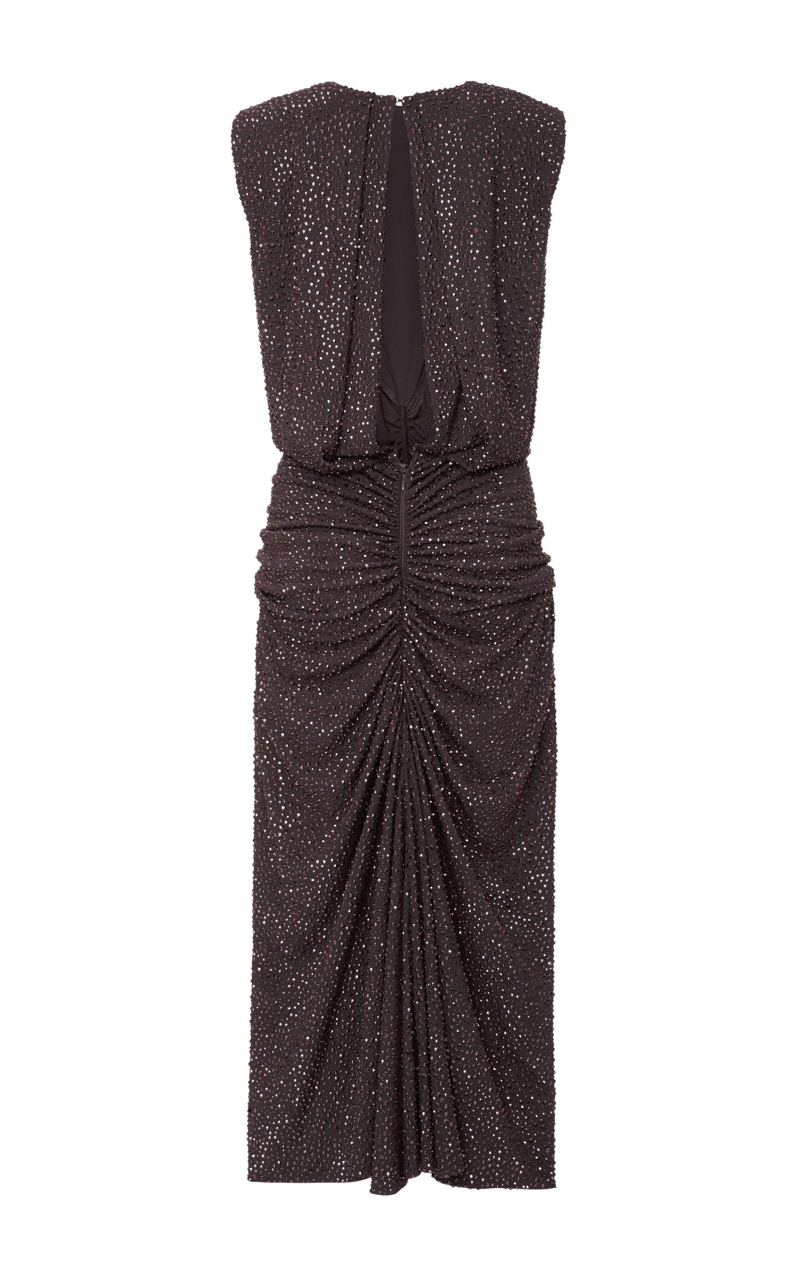 Lyst michael kors crystal embroidered dress in brown