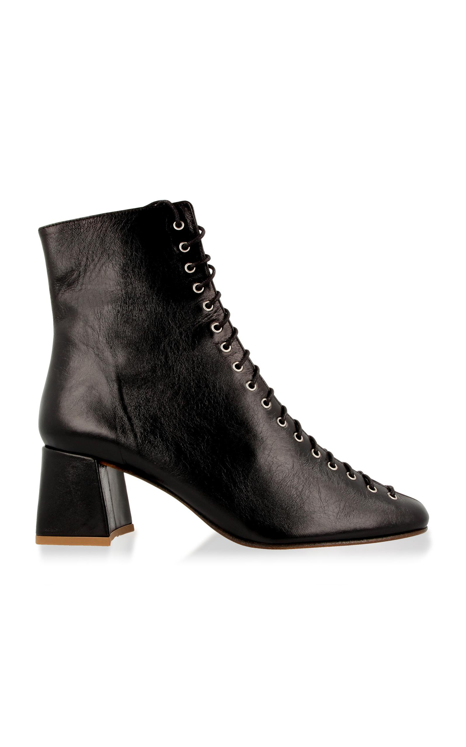 By Far Becca Lace Up Leather Boot In Black Lyst