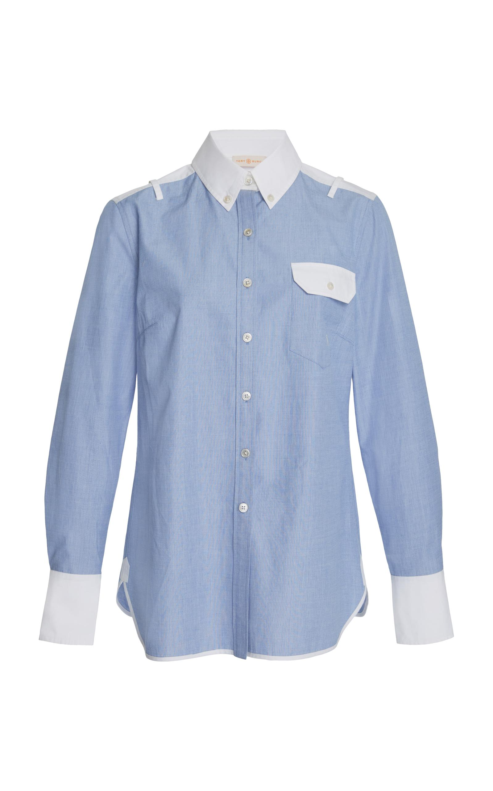 Tory burch piper button down top in blue lyst for Tory burch button down shirt