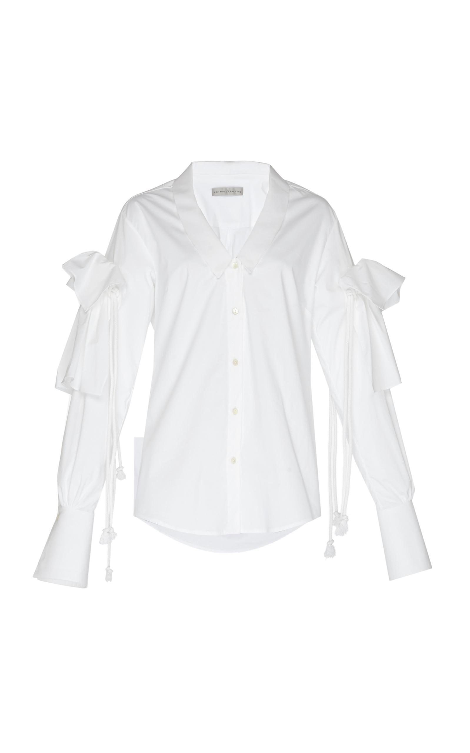 Lyst palmer harding combine v neck button up shirt in white for V neck button up shirt