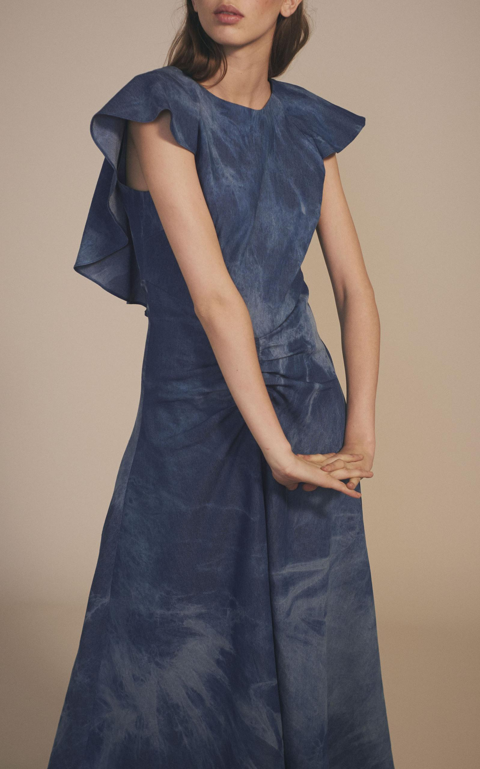 how to back up iphone on mac paper ruffle midi cotton dress in blue lyst 19832