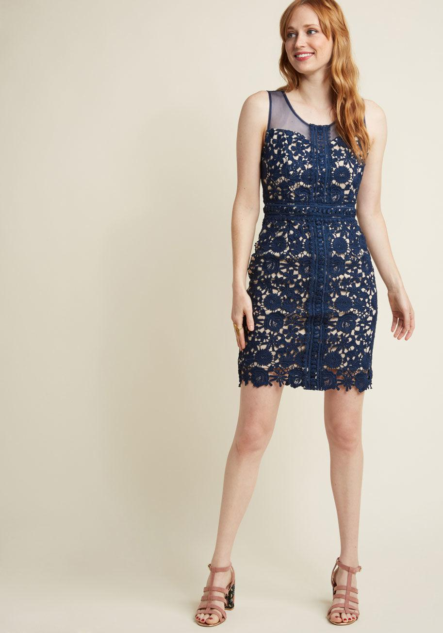 lyst modcloth sleeveless lace sheath dress in navy in blue