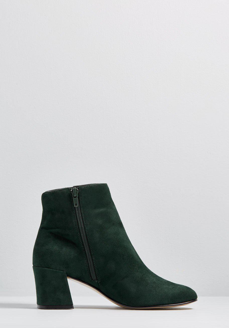 4cf2a27a50f6 Lyst - ModCloth A Strut Above Block Heel Bootie in Green