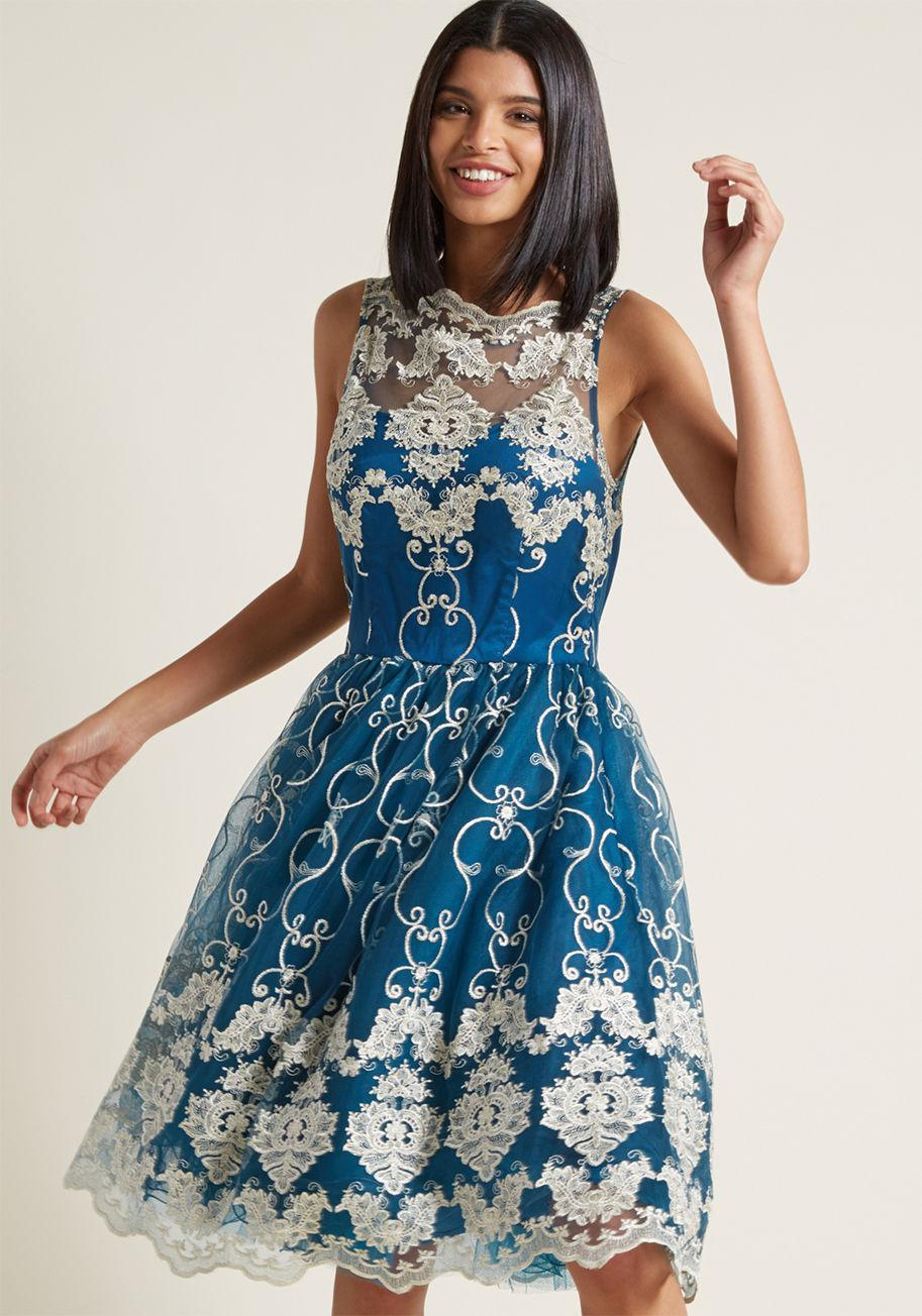 027ef6217d2 ModCloth Chi Chi London Reign Or Shine Lace Dress in Blue - Lyst