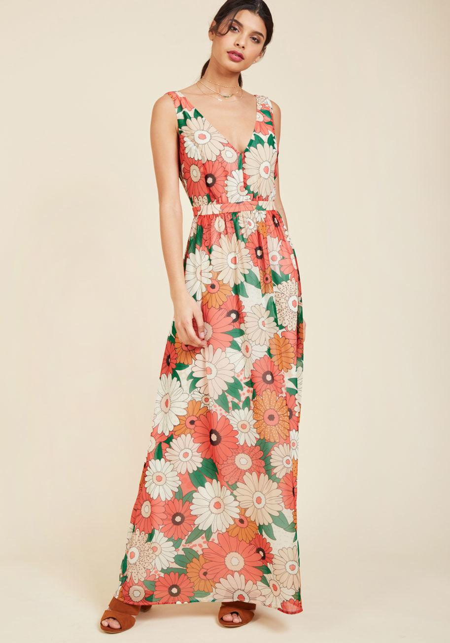 2479b21339cbd Lyst - ModCloth Muster The Length Maxi Dress In Coral in Pink