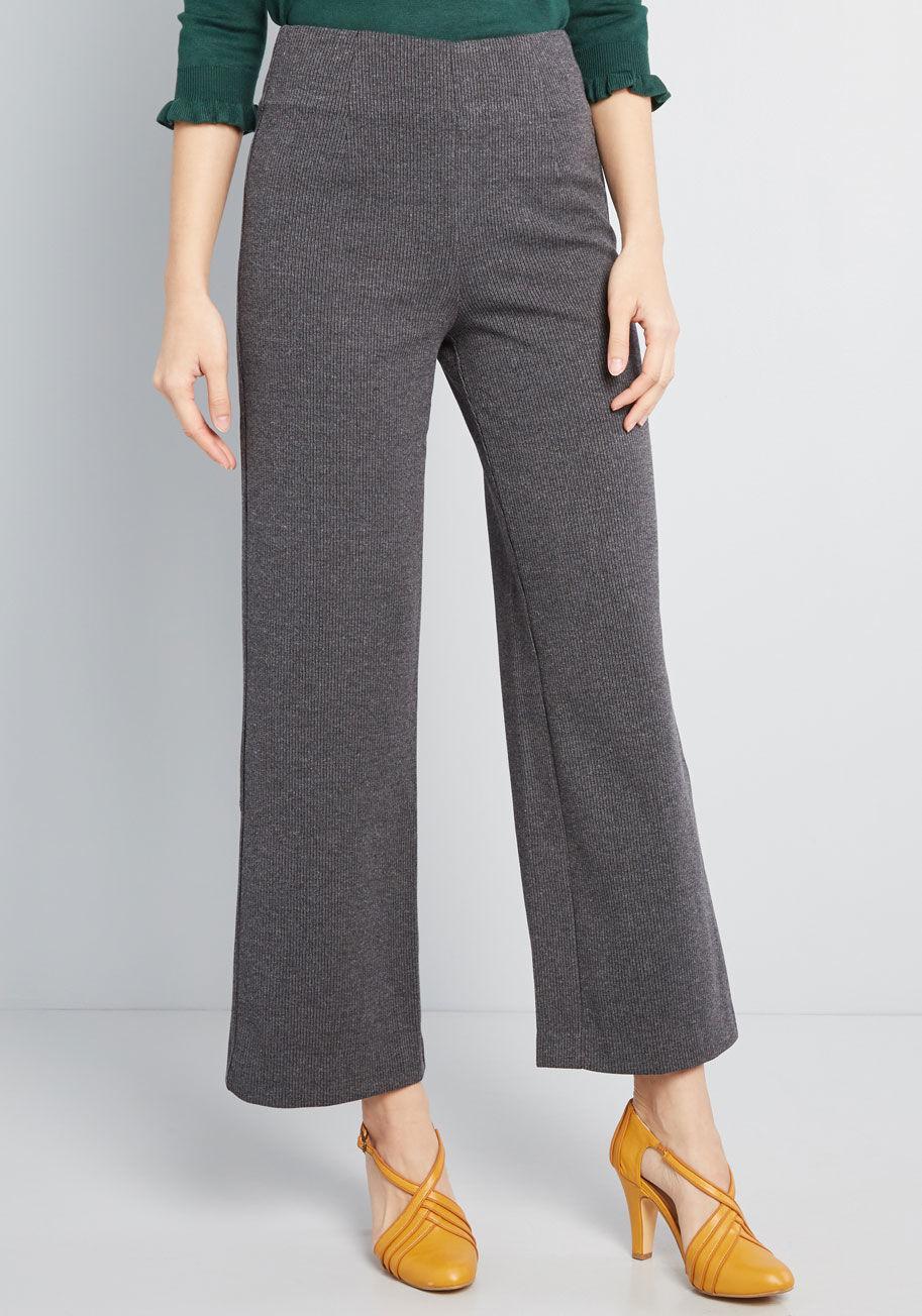 a1b84e03cbb Lyst - Modcloth Knit Situation Wide-leg Pants in Black